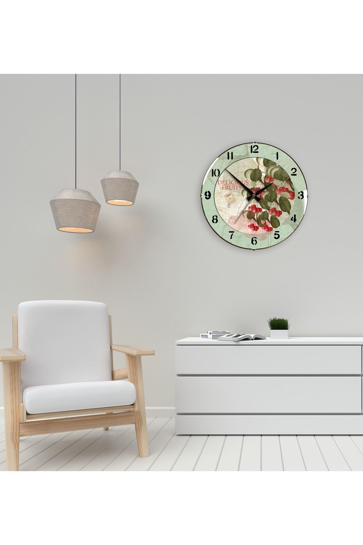Rikon Mutfak Vişne Dekoratif Bombe Camlı Duvar Saati 35X35 Cm