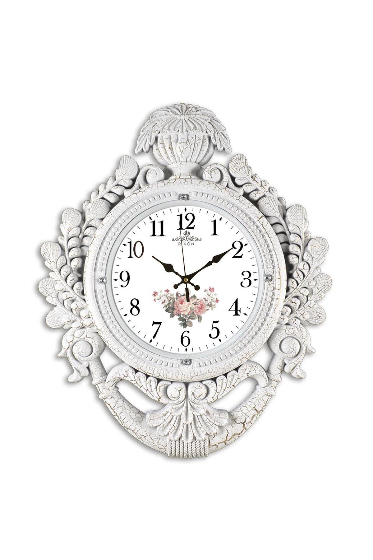 Rikon Taç Model Dekoratif Lüx Beyaz Çiçekli Duvar Saati 60X48 Cm