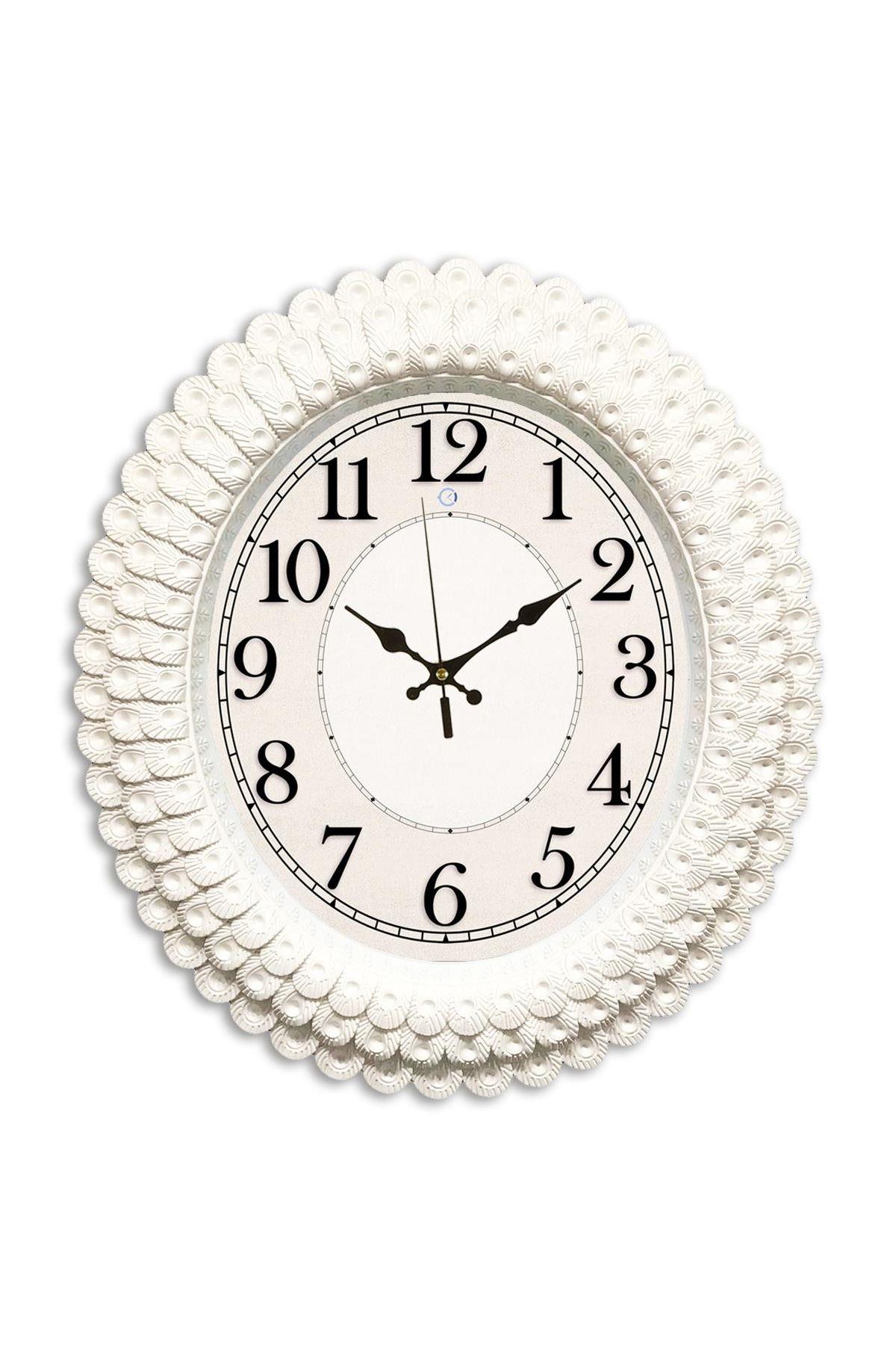 Rikon Oval Gölge Rakamlı Deniz Kabuğu Dekoratif Duvar Saati 48X42 Cm