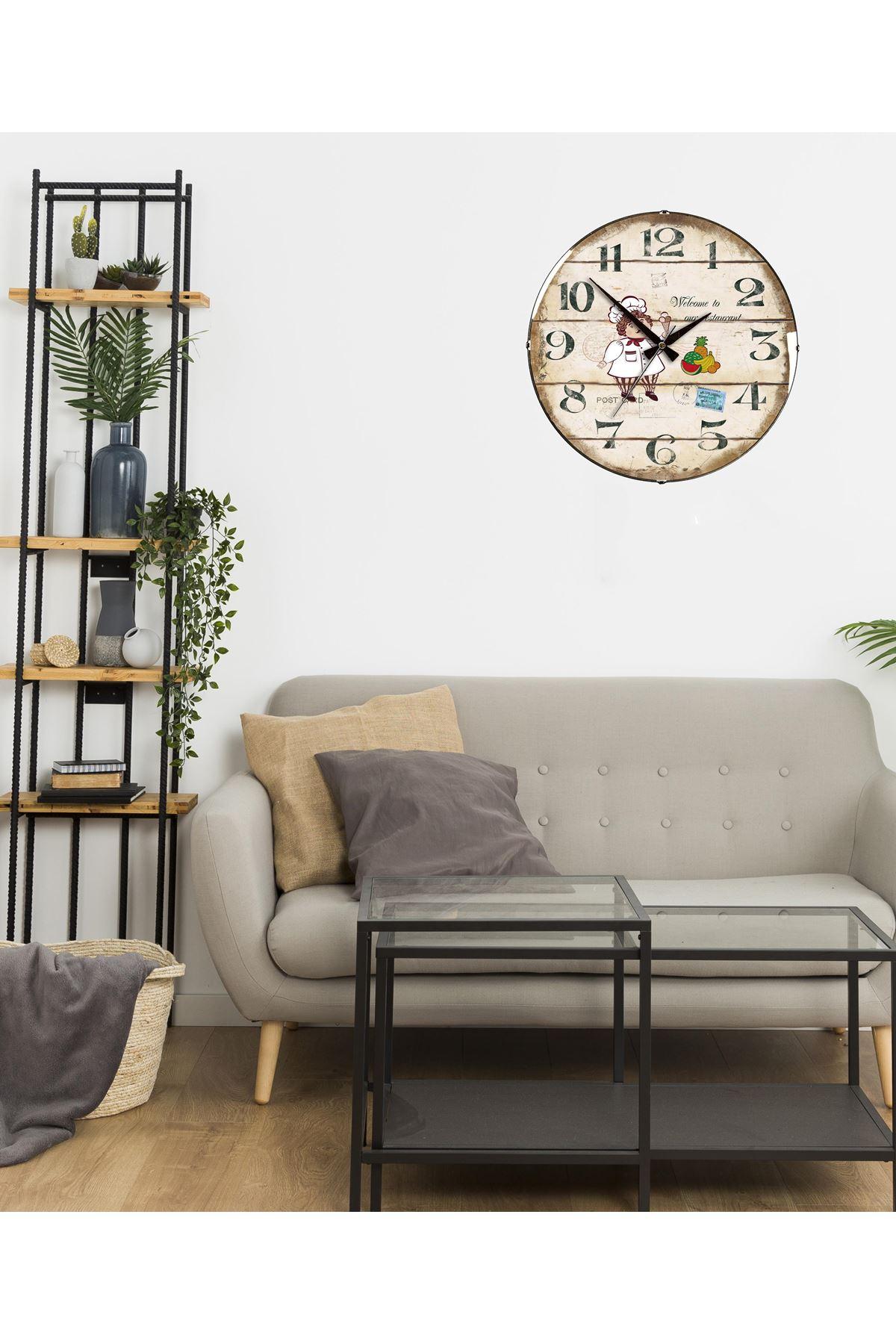 Rikon Mutfak Aşcı Dekoratif Bombe Camlı Duvar Saati 35X35 Cm