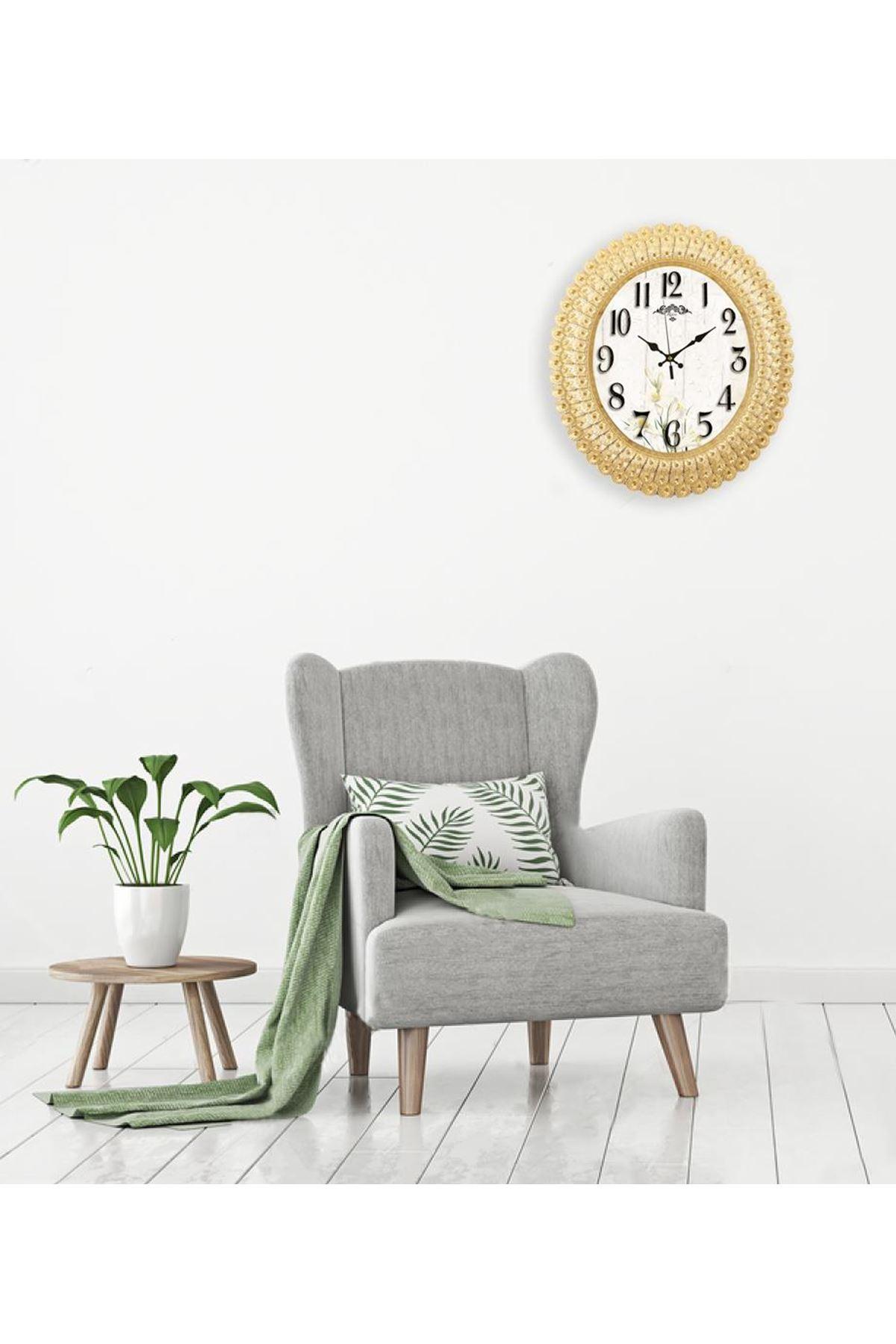 Rikon Oval  Beyaz Çiçek Deniz Kabuğu Dekoratif Duvar Saati 48X42Cm