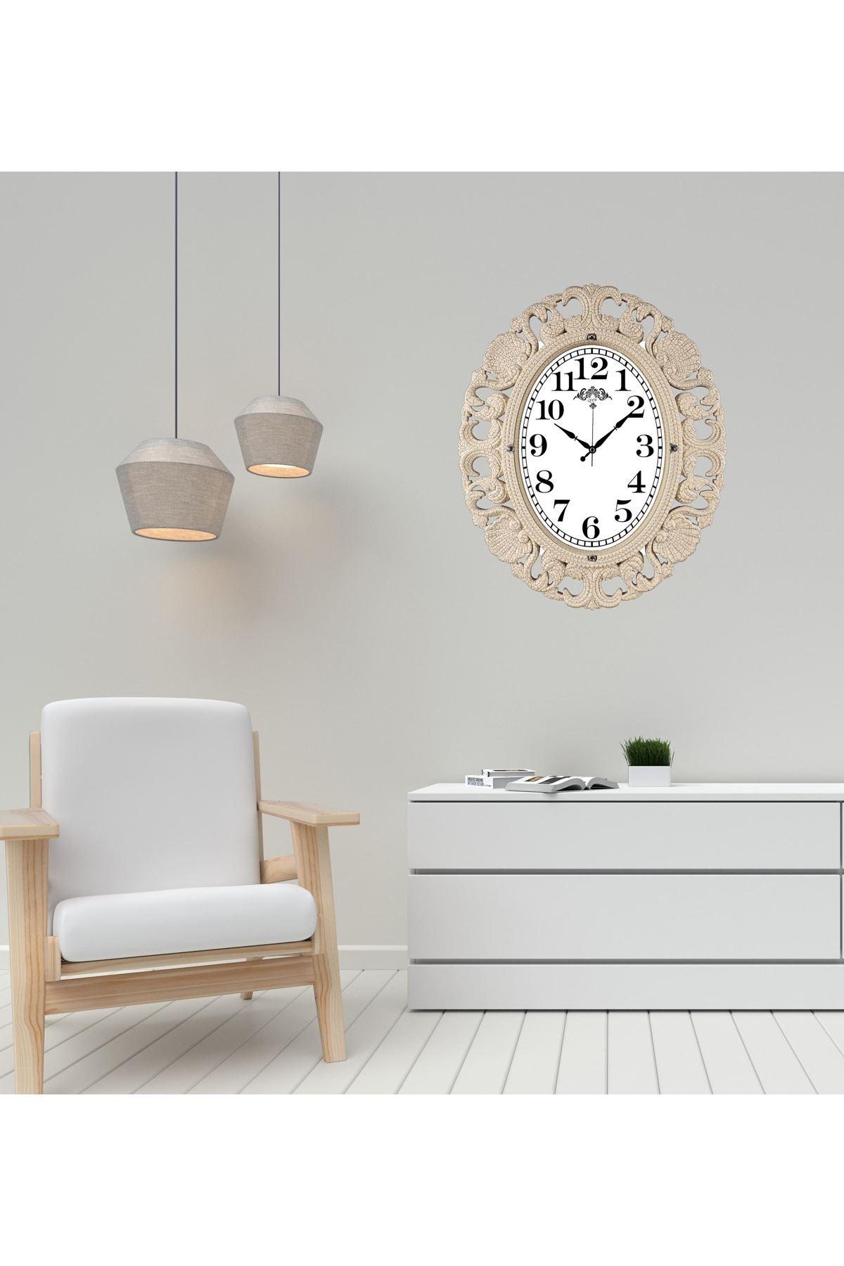 Rikon Büyük Oval Lüx Dekoratif Krem Duvar Saati 63X52 Cm