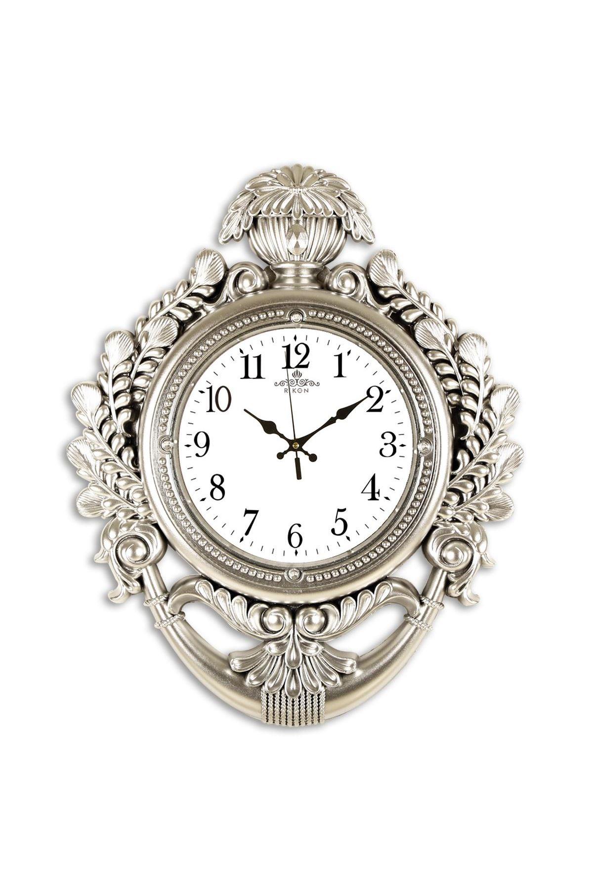 Rikon Taç Model Dekoratif Lüx Gümüş Duvar Saati 60X48 Cm