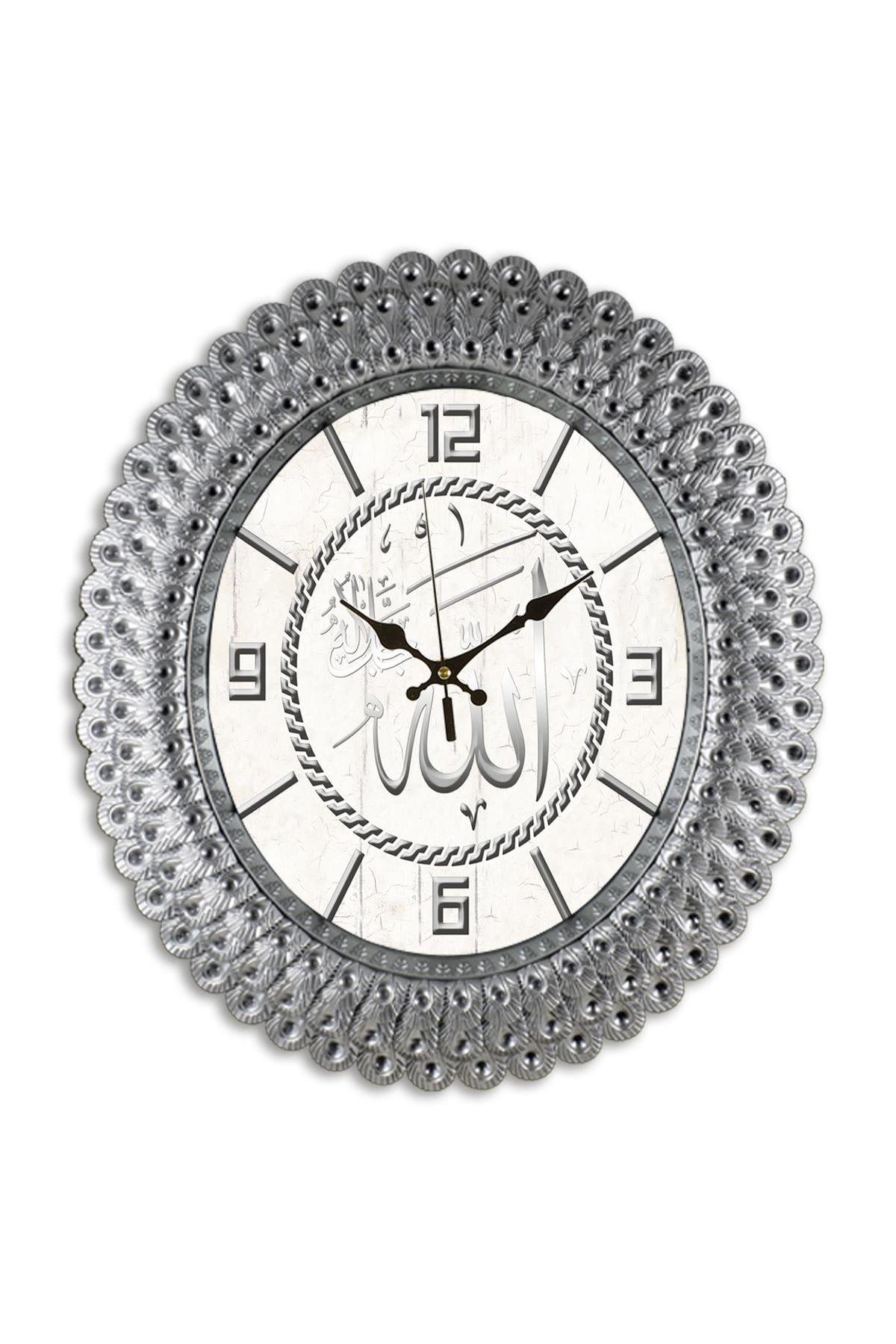 Rikon Oval Deniz Kabuğu Gümüş Ayetli Dekoratif Duvar Saati 48X42