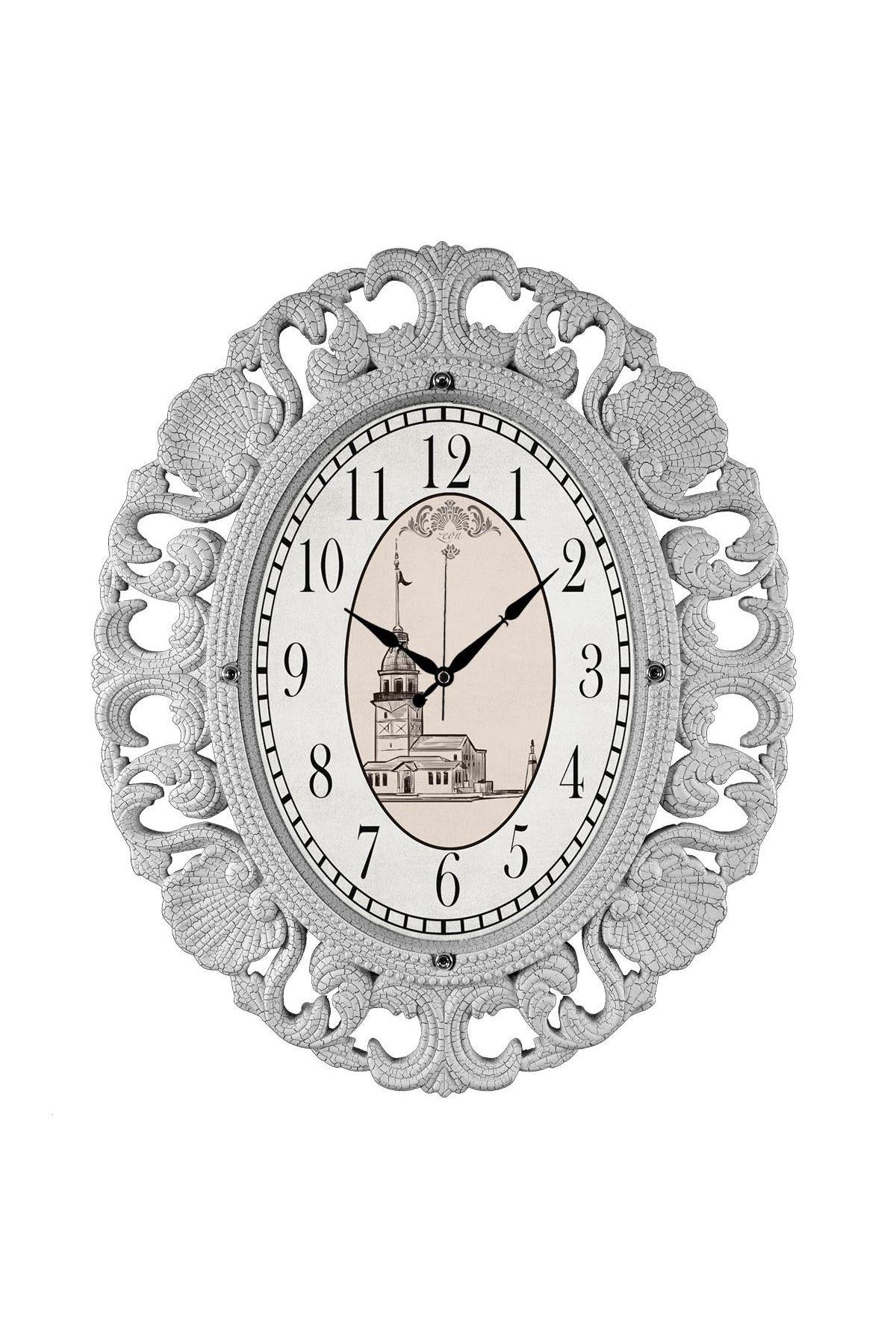 Rikon Büyük Oval Lüx Dekoratif Beyaz Duvar Saati 63X52 Cm