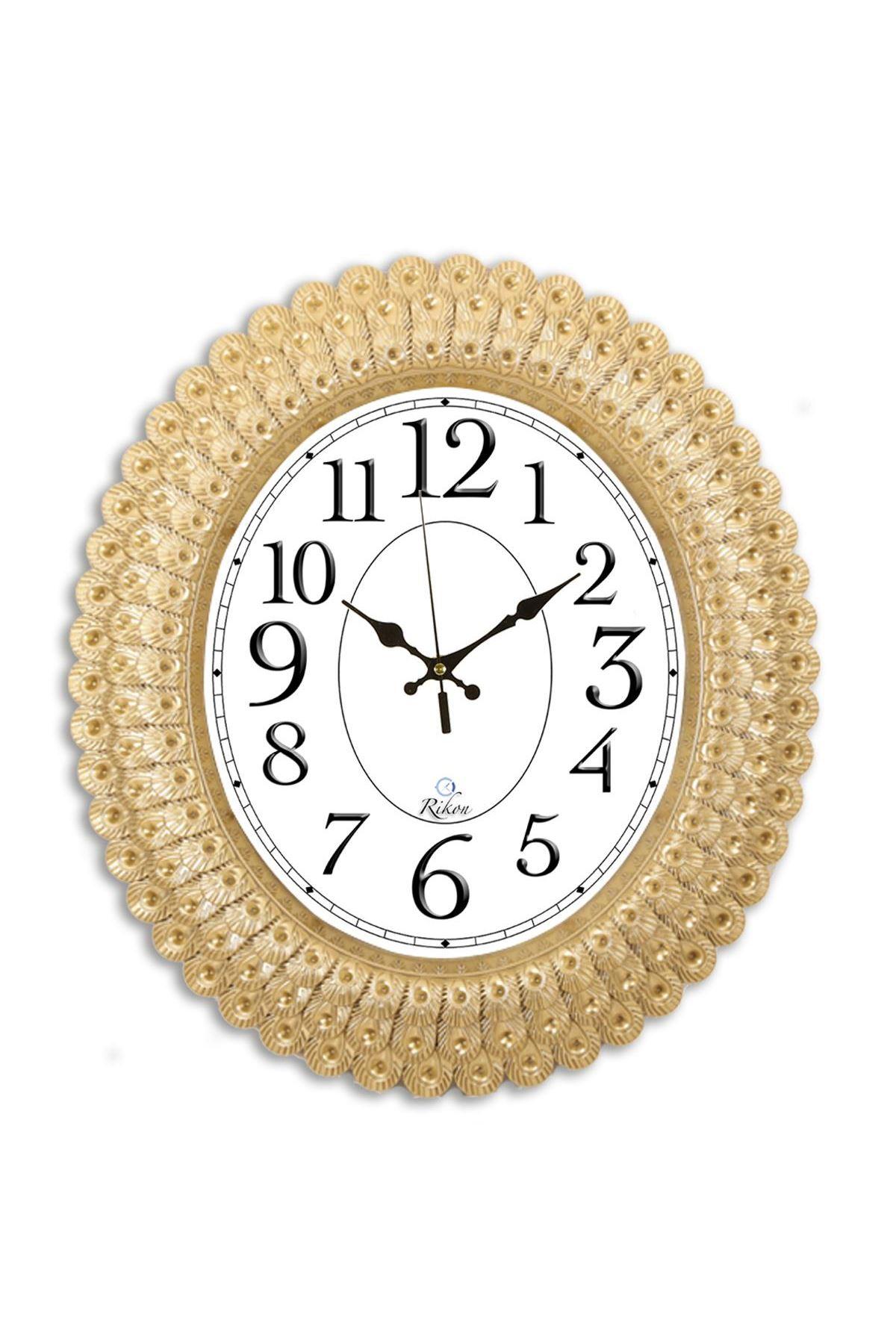 Rikon Oval Deniz Kabuğu Lüx Dekoratif Duvar Saati 48X42 Cm