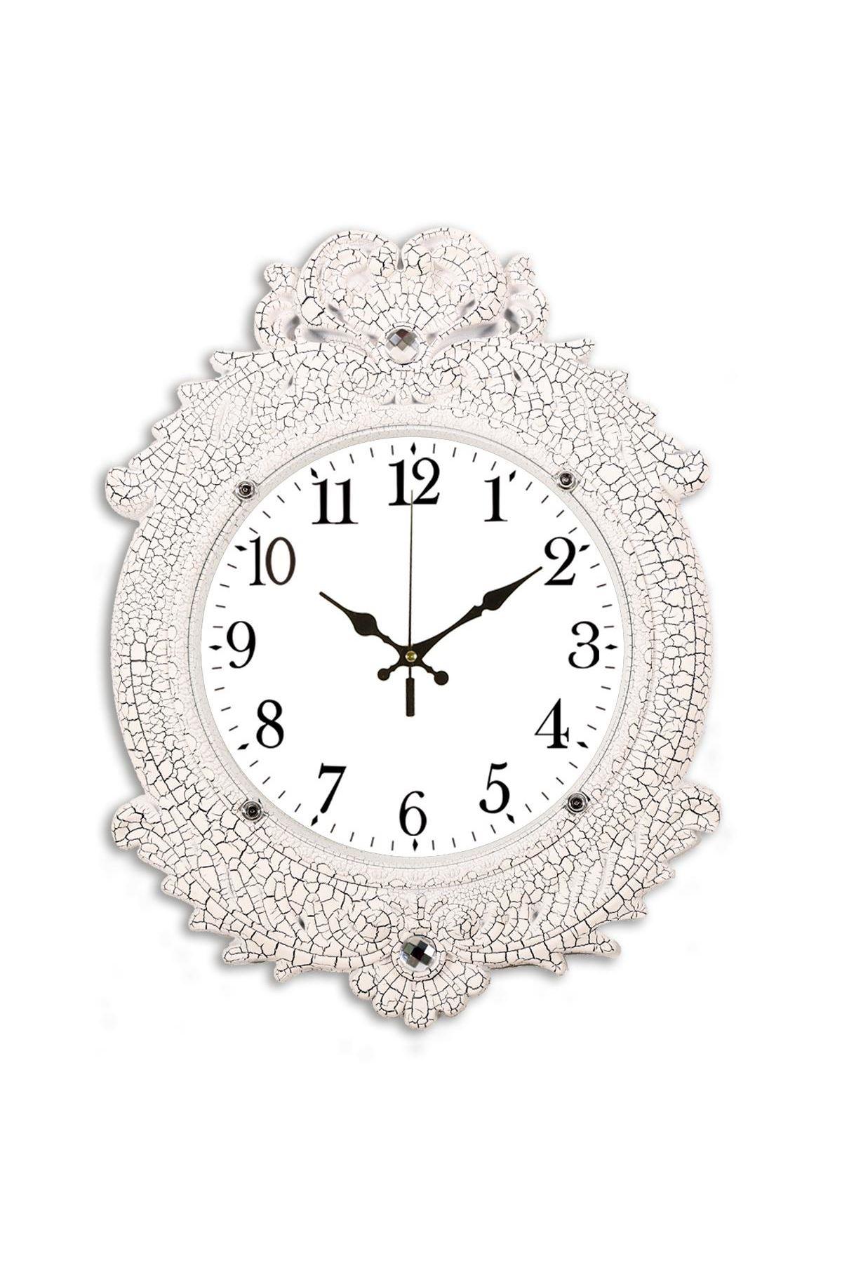 Rikon Deluxe Beyaz Çatlak Dekoratif Duvar Saati 48X36 Cm