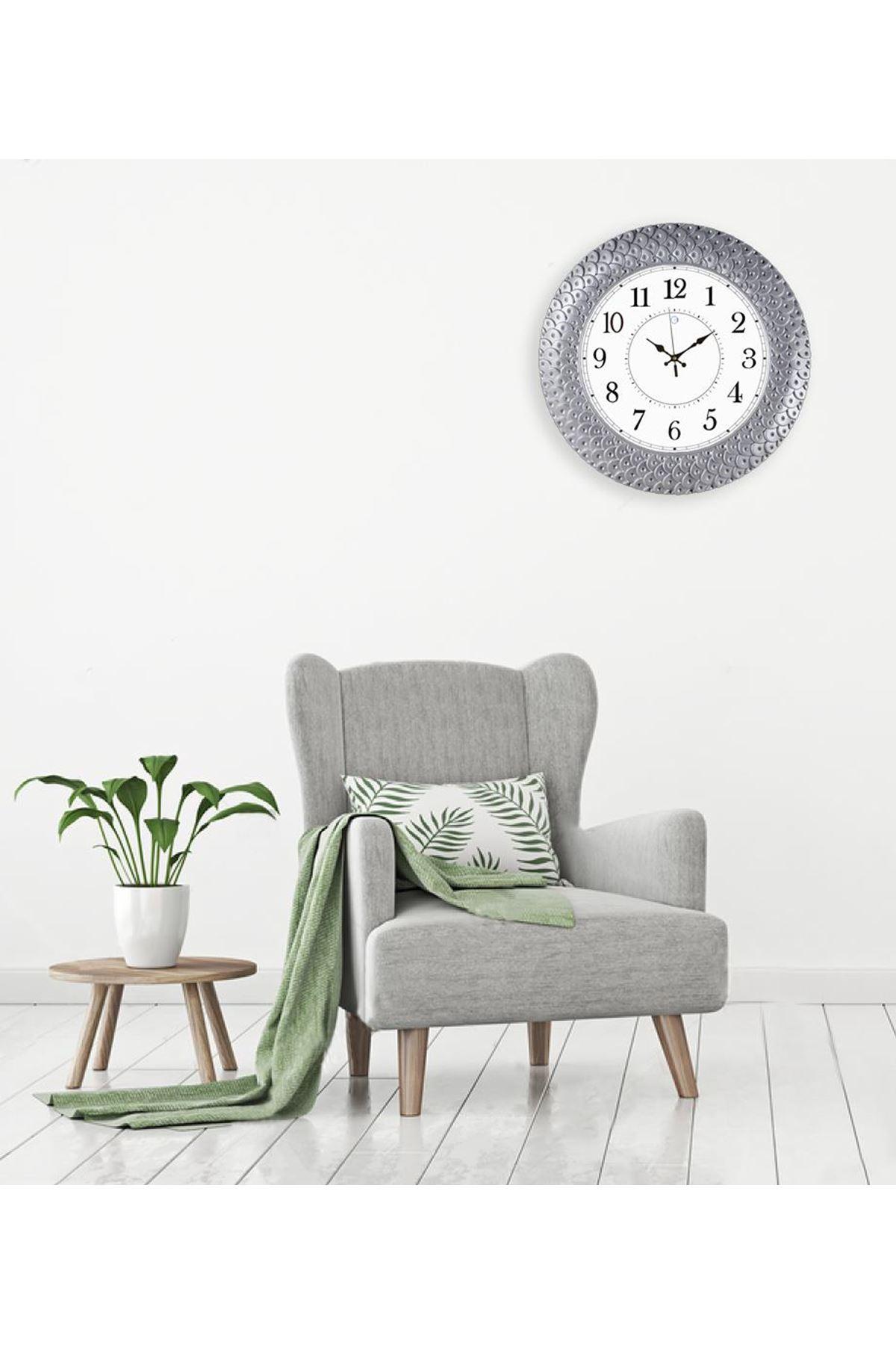 Rikon Premium Dekoratif Gümüş Duvar Saati 45X45 Cm