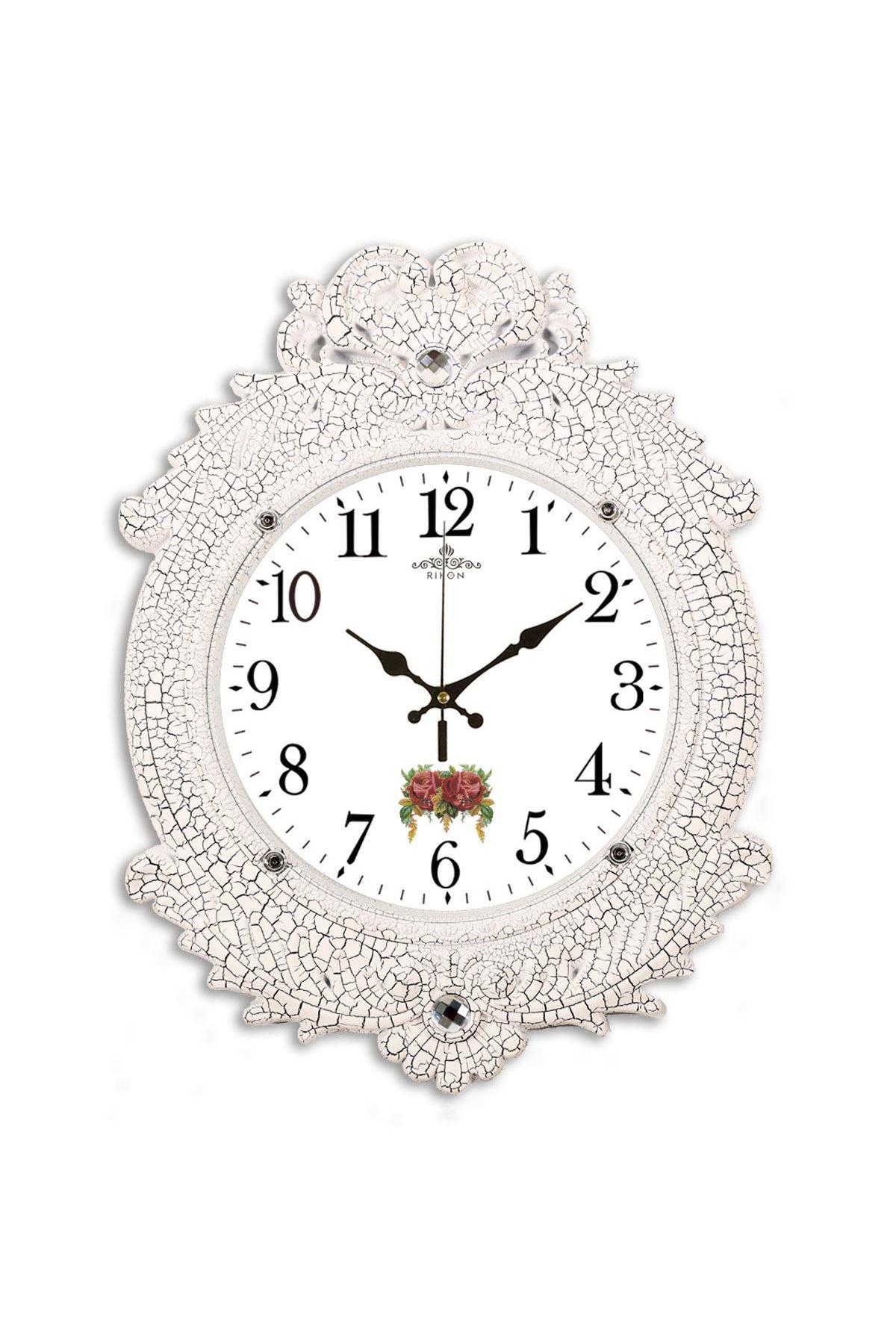 Rikon Deluxe Dekoratif Kırmızı Gül Duvar Saati 48X36 Cm