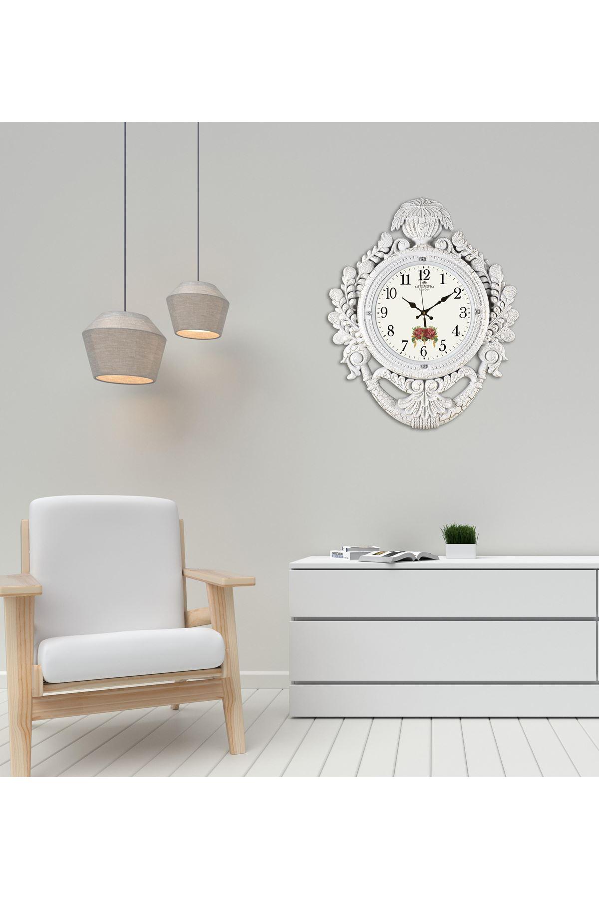 Rikon Taç Model Dekoratif Lüx Beyaz Çatlak Gül Duvar Saati 60X48Cm