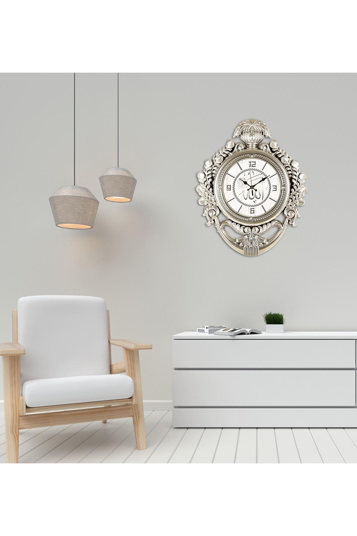 Rikon Taç Model Allah Yazılı Dekoratif Duvar Saati 60X48 Cm