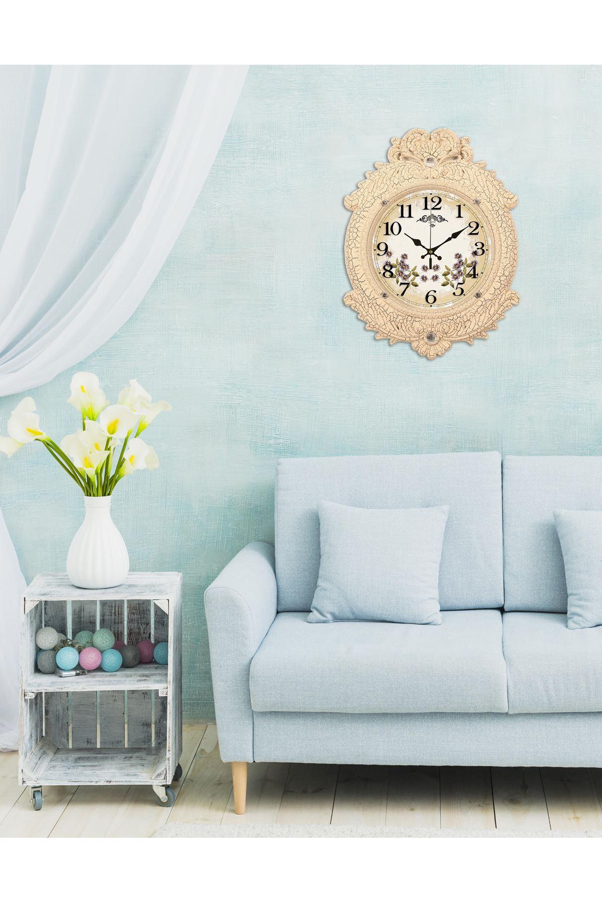 Rikon Deluxe Krem Dekoratif Duvar Saati 48X36 Cm