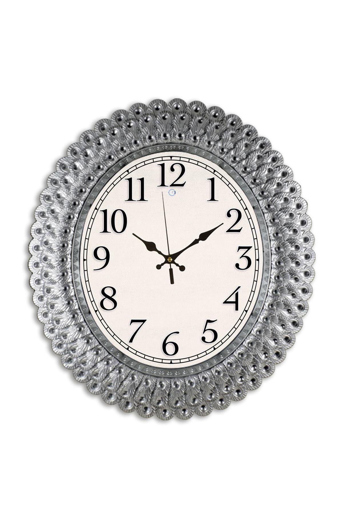 Rikon Oval Deniz Kabuğu Gümüş Rengi Dekoratif Duvar Saati 48X42 Cm