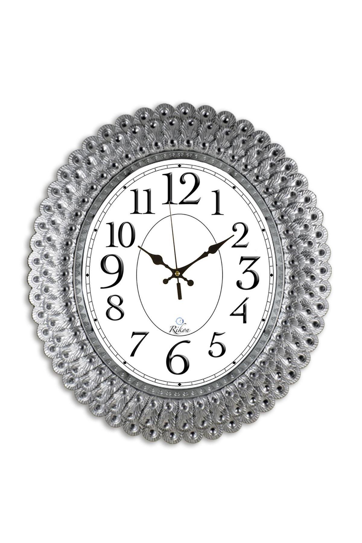 Rikon Oval Deniz Kabuğu Gümüş Renk Dekoratif Duvar Saati 48X42 Cm