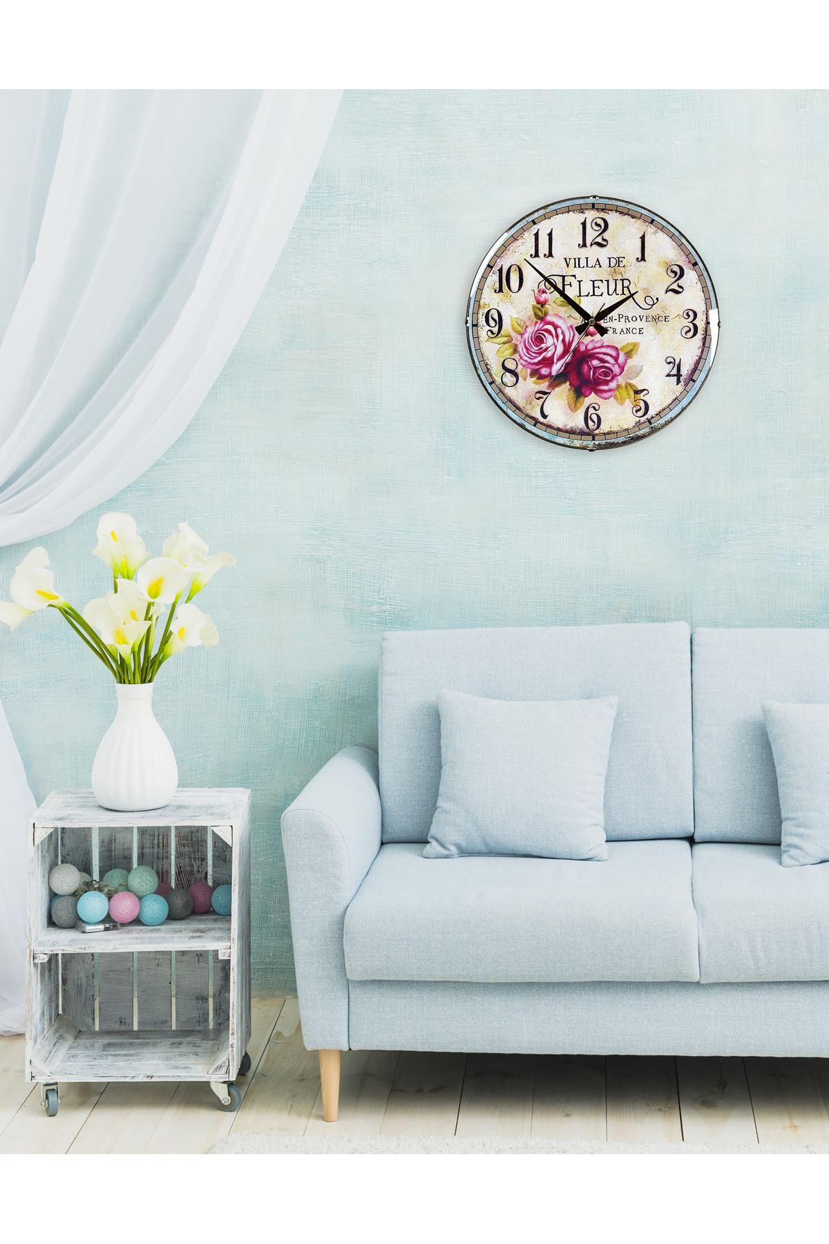 Rikon Salon Serisi Dekoratif Bombe Camlı Duvar Saati 35X35 Cm