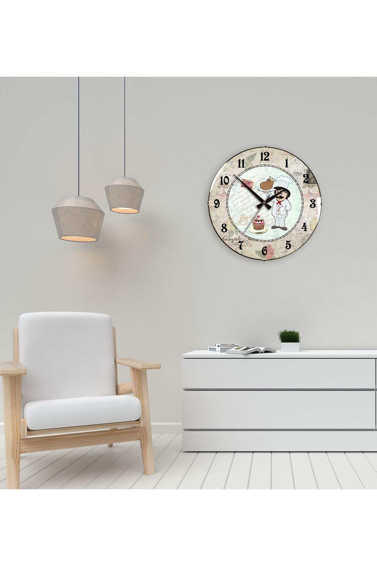Rikon Mutfak Saati Dekoratif Bombe Camlı Duvar Saati 35X35 Cm