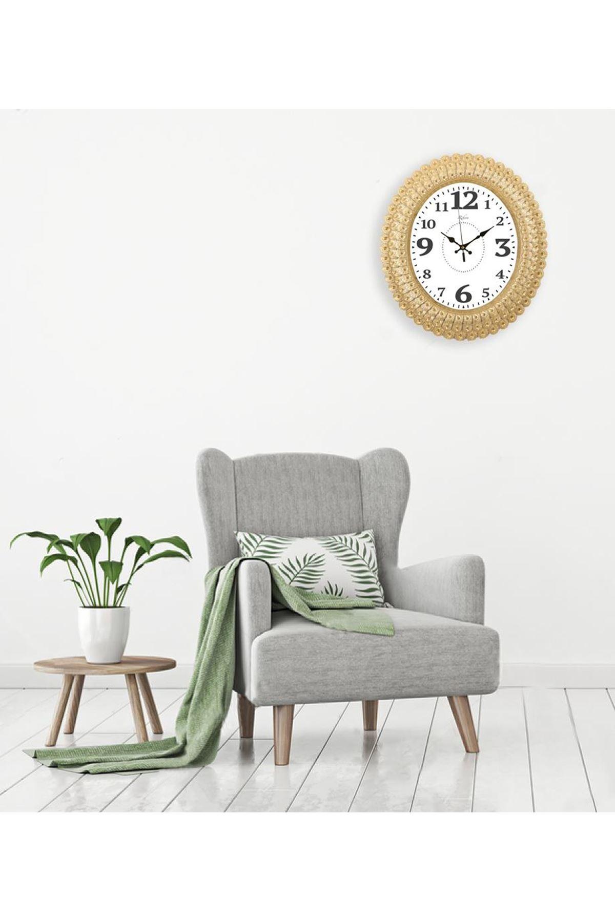 Rikon Oval Deniz Kabuğu Kalın Rakam Dekoratif Duvar Saati 48X42 Cm