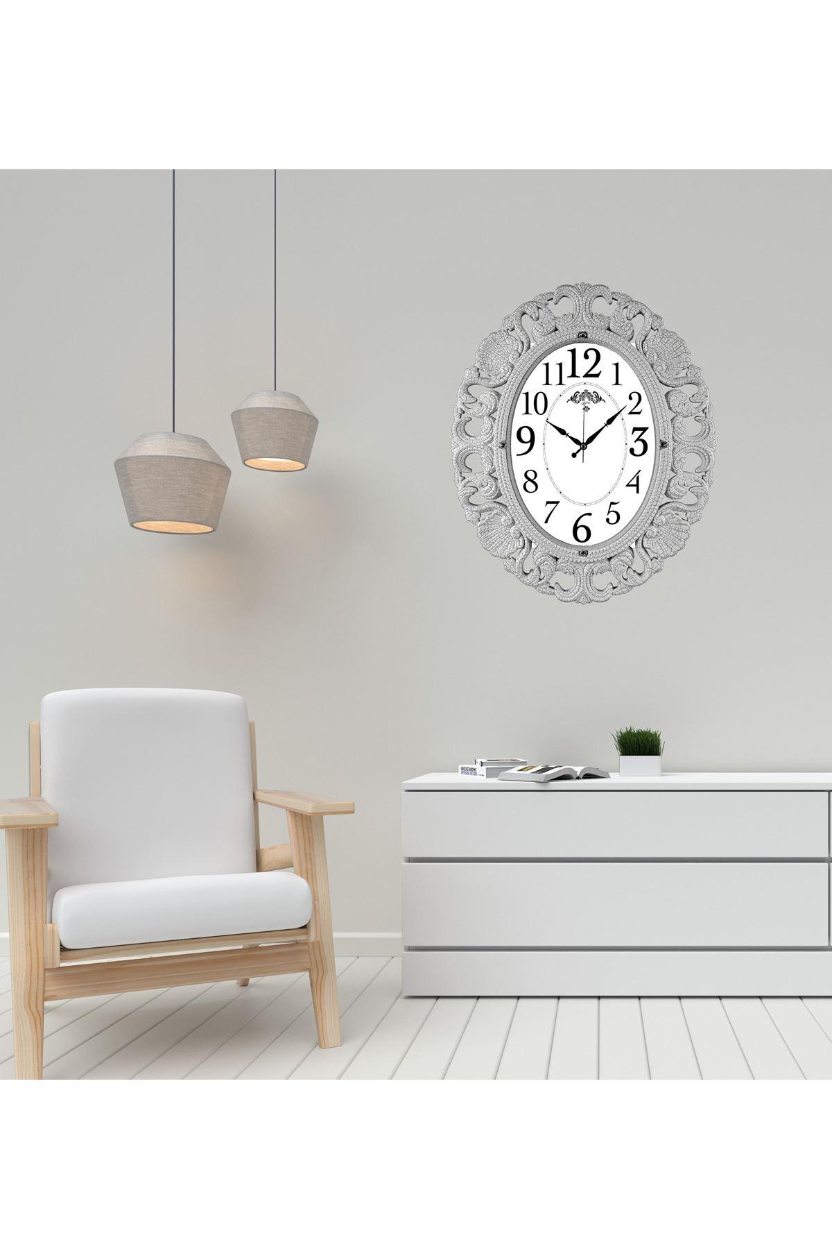Rikon Büyük Oval Beyaz Çatlak Lüx Dekoratif Duvar Saati 63X52 Cm