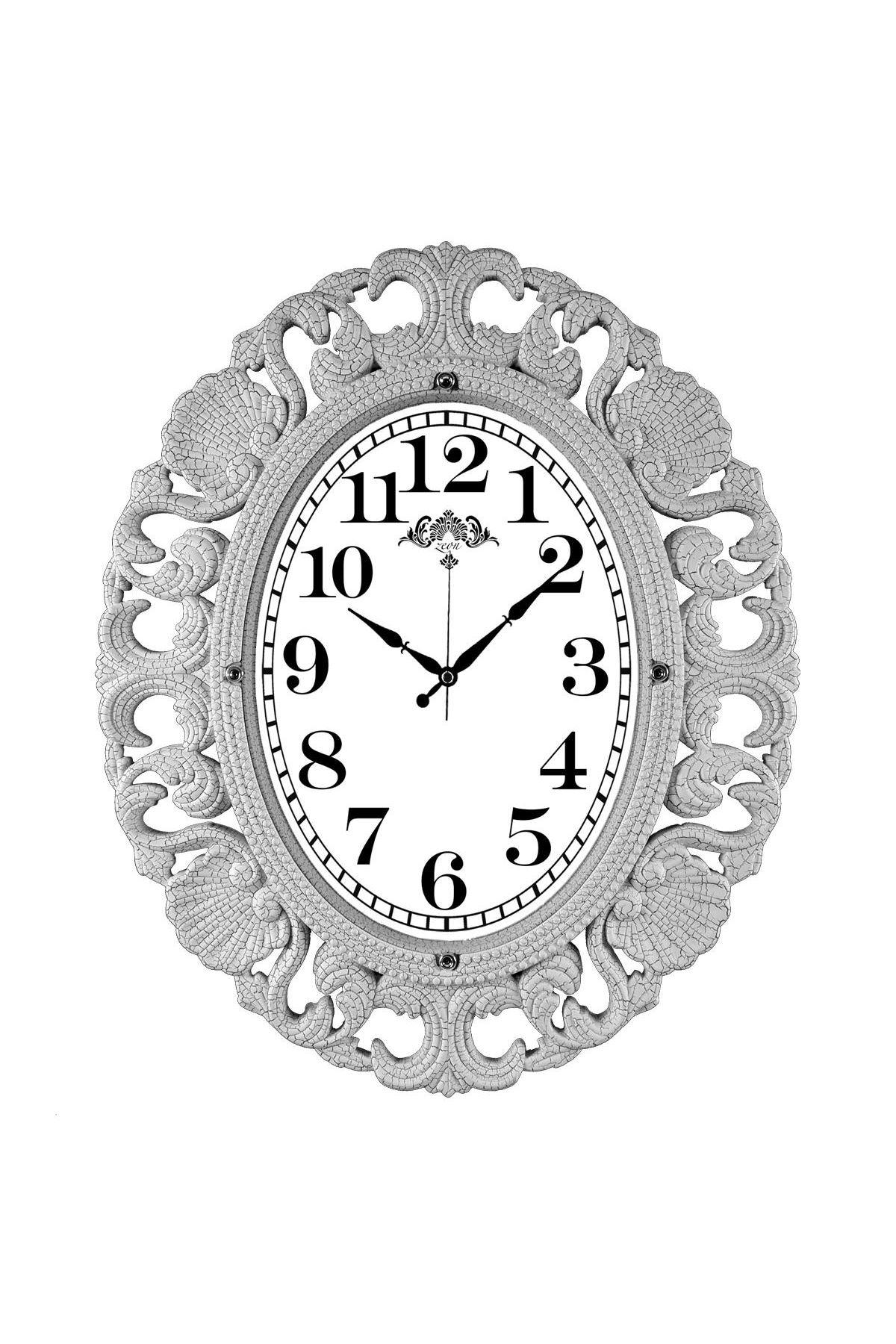 Rikon Büyük Oval Lüx Dekoratif Beyaz Çatlak Duvar Saati 63X52 Cm