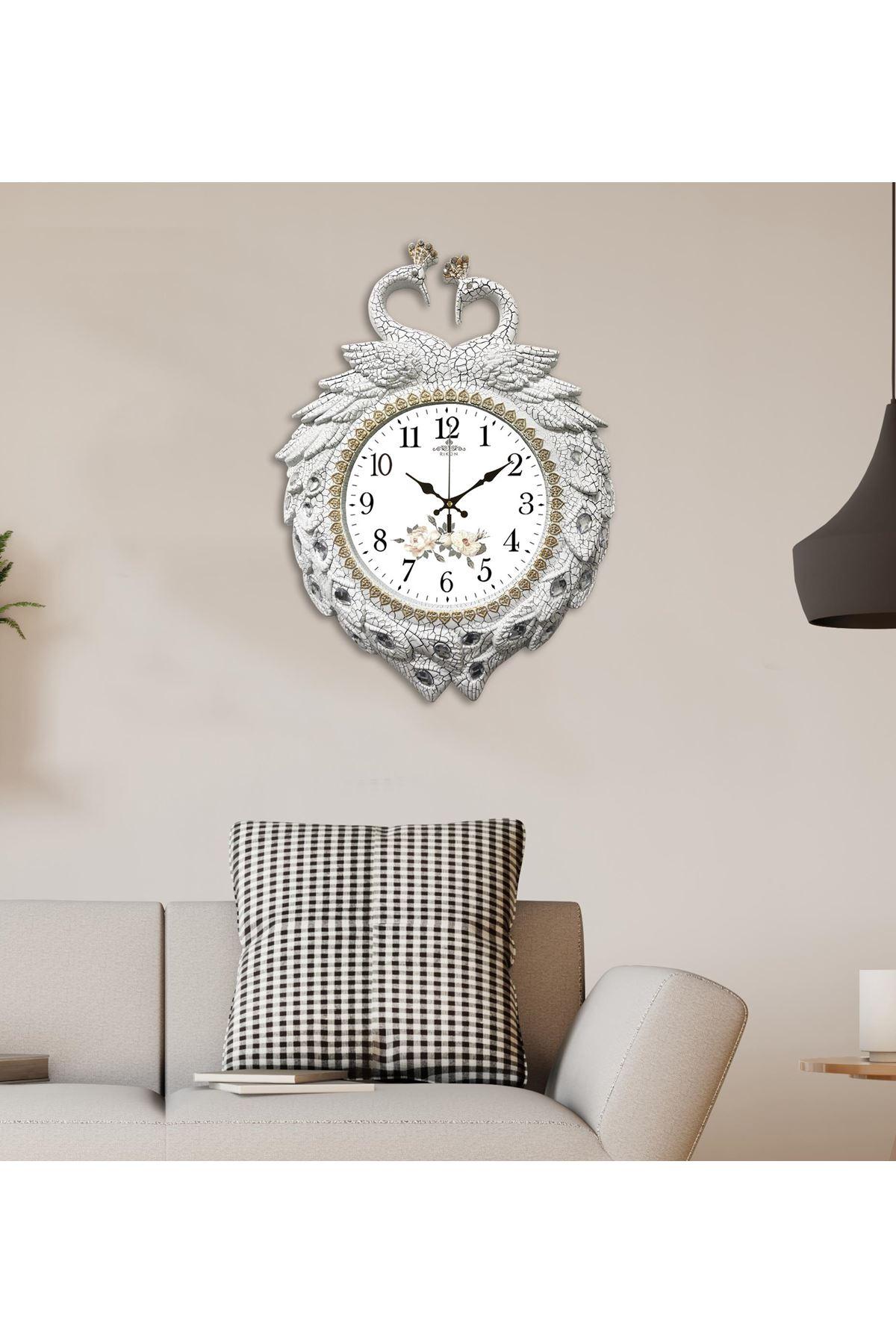 Rikon Kuğu Beyaz Gül Dekoratif Duvar Saati 60x46 Cm