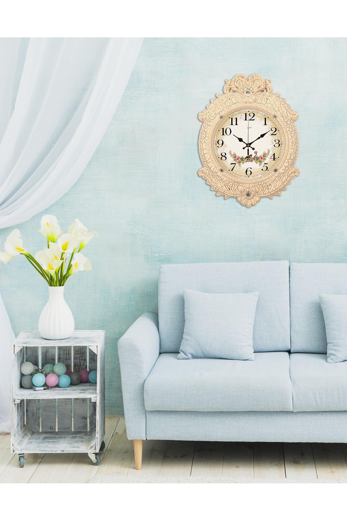 Rikon Deluxe Krem Çiçekli Dekoratif Duvar Saati 48X36 Cm