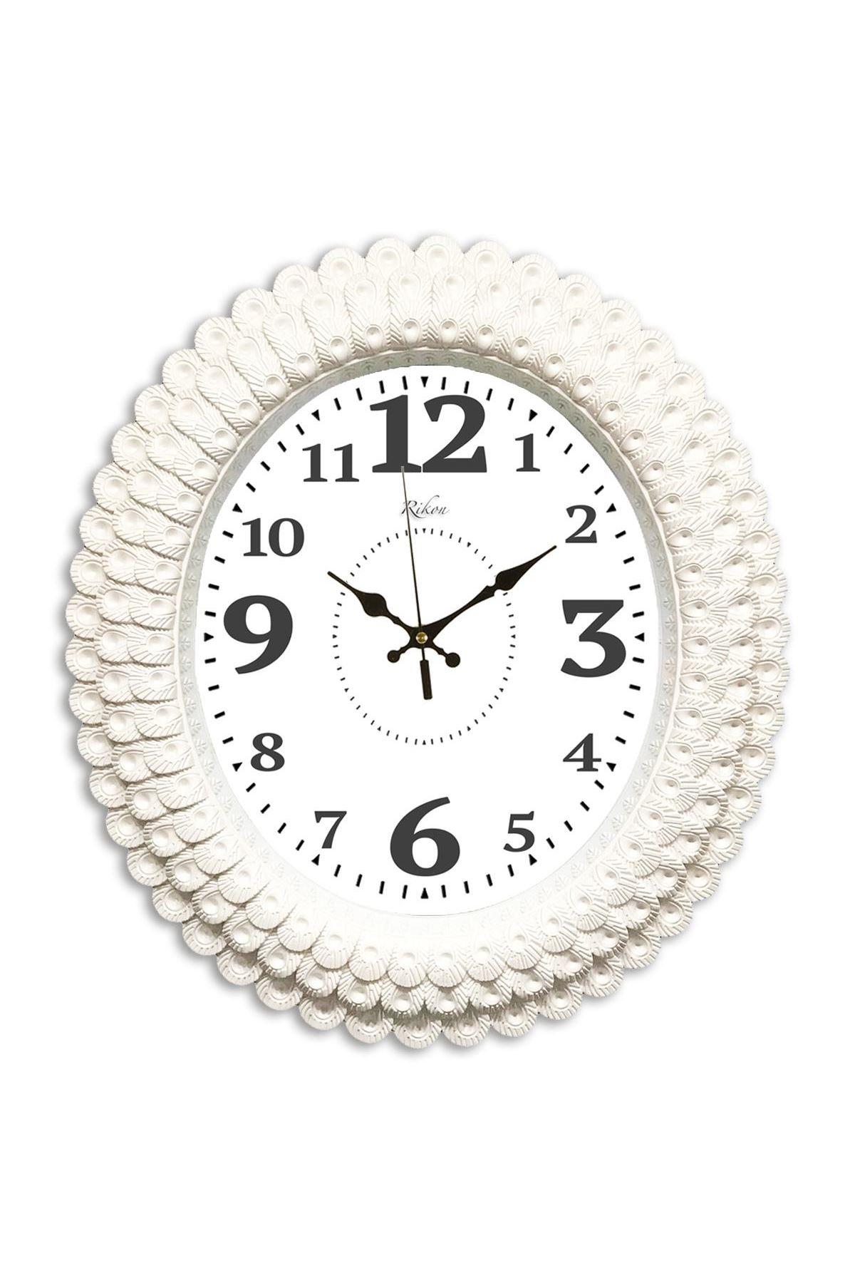 Rikon Oval Deniz Kabuğu Büyük Rakam Dekoratif Duvar Saati 48X42 Cm