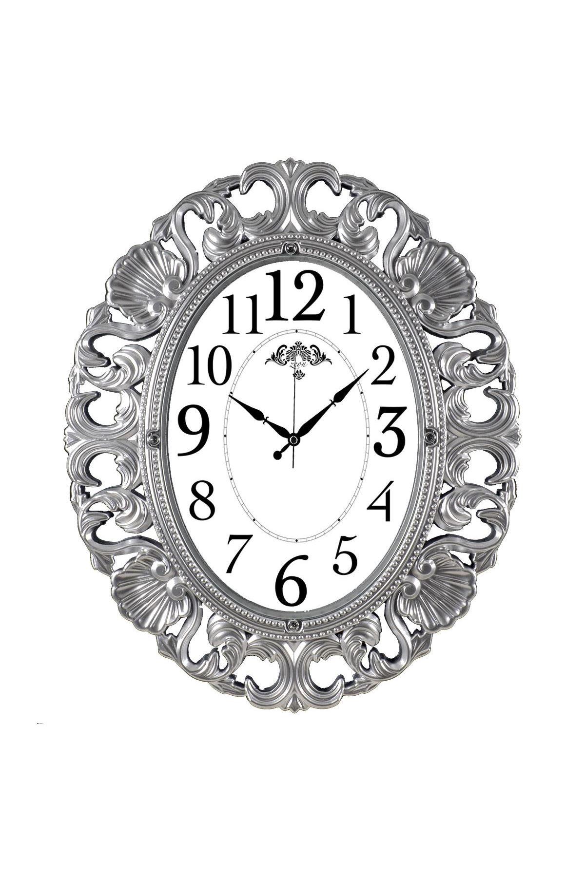 Rikon Büyük Oval Lüx Dekoratif Gümüş Duvar Saati 63X52 Cm