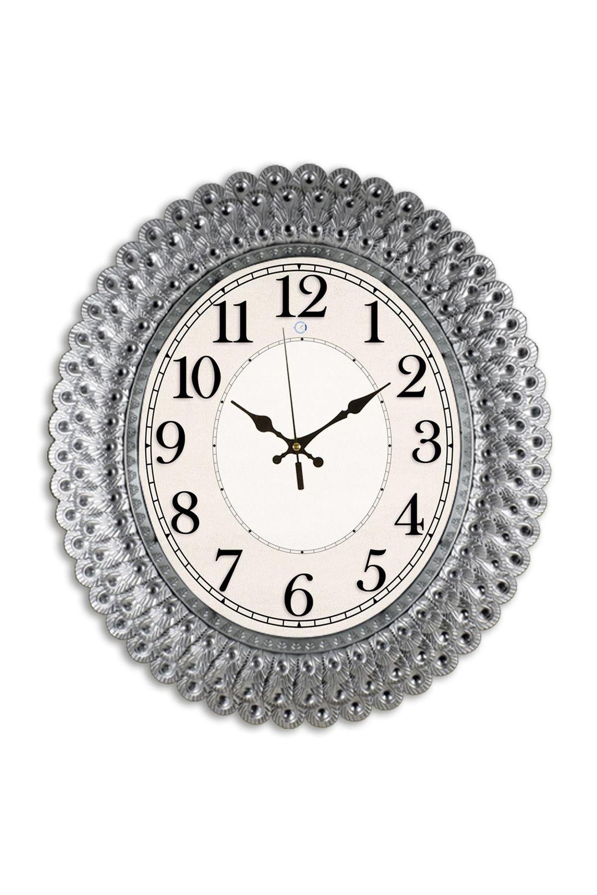 Rikon Oval Deniz Kabuğu Gümüş Dekoratif Duvar Saati 48X42 Cm
