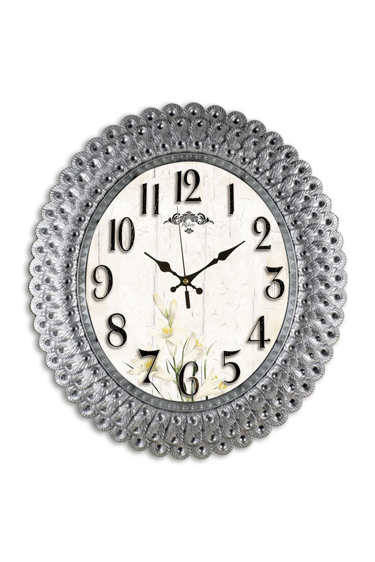 Rikon Oval Gümüş Renk Deniz Kabuğu Dekoratif Duvar Saati 48X42 Cm