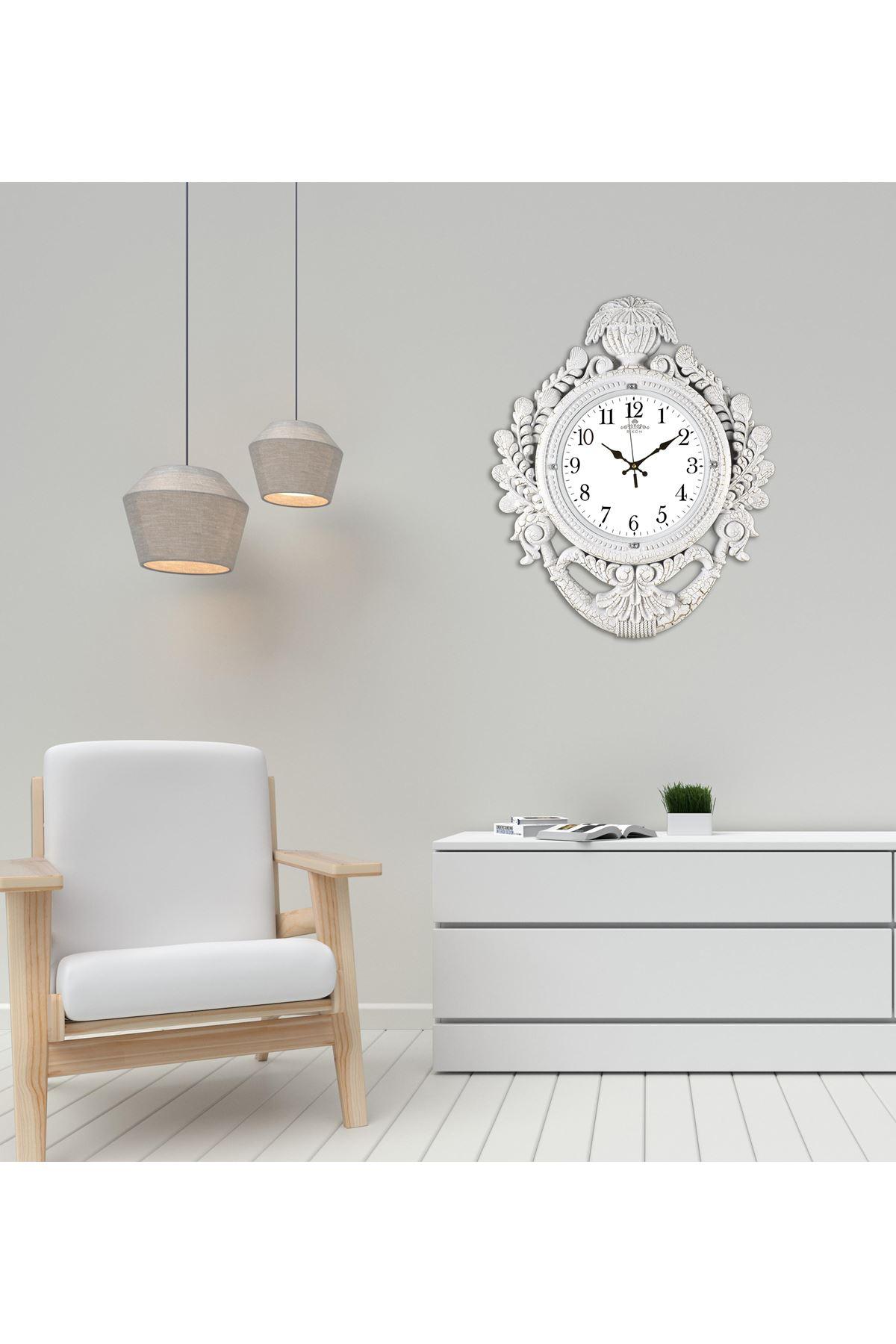 Rikon Taç Model Dekoratif Lüx Düz Beyaz Çatlak Duvar Saati 60X48Cm