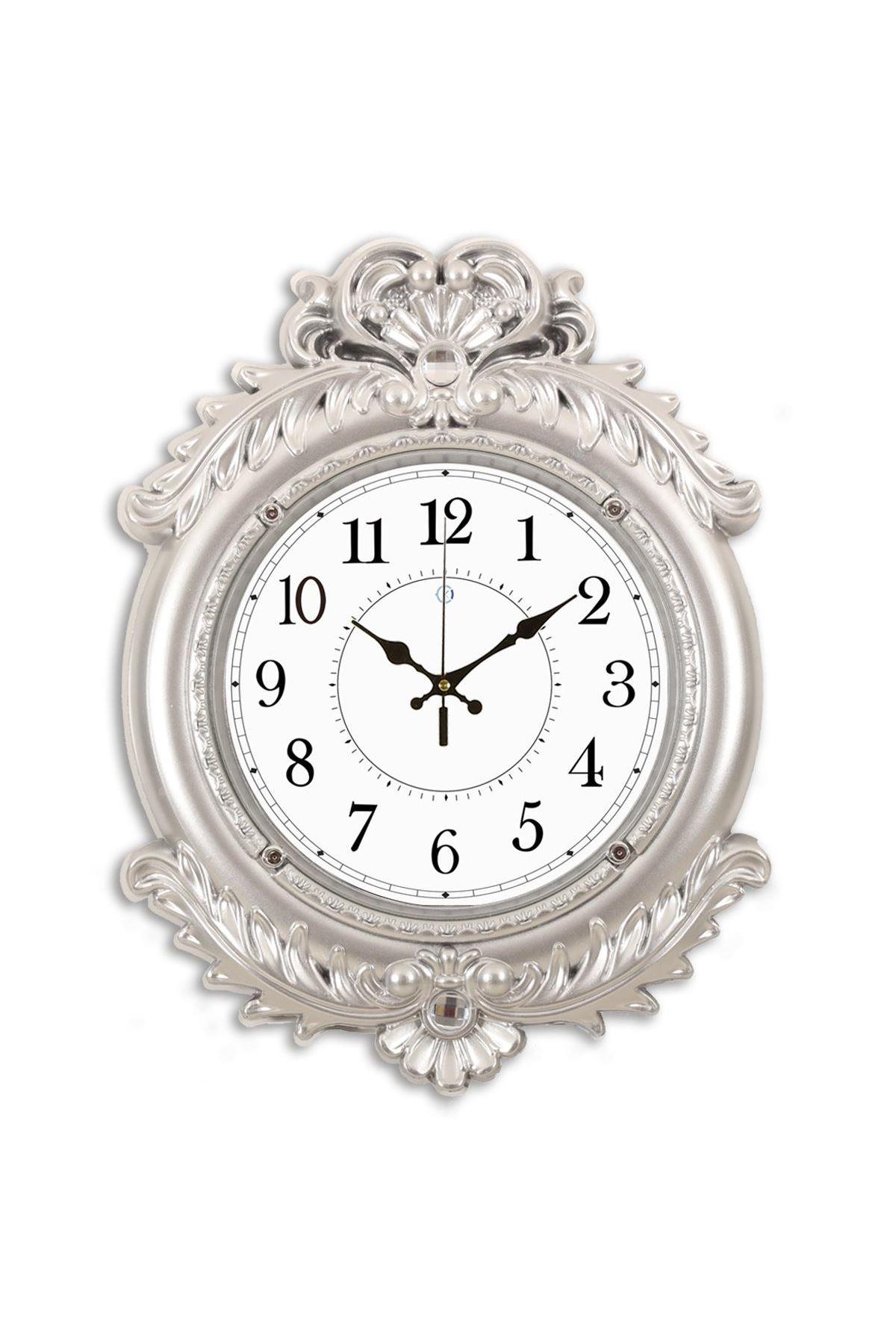 Rikon Deluxe Gümüş Düz Dekoratif Duvar Saati 48X36 Cm