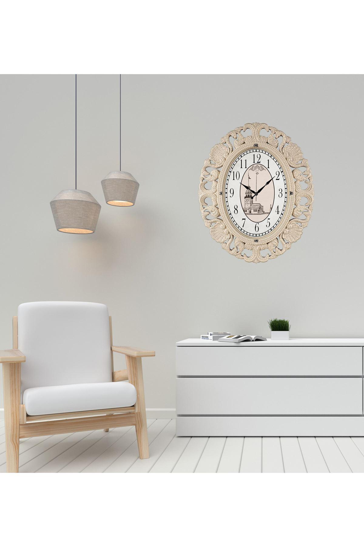 Rikon Büyük Oval Lüx Kız Kulesi Dekoratif Duvar Saati 63X52 Cm