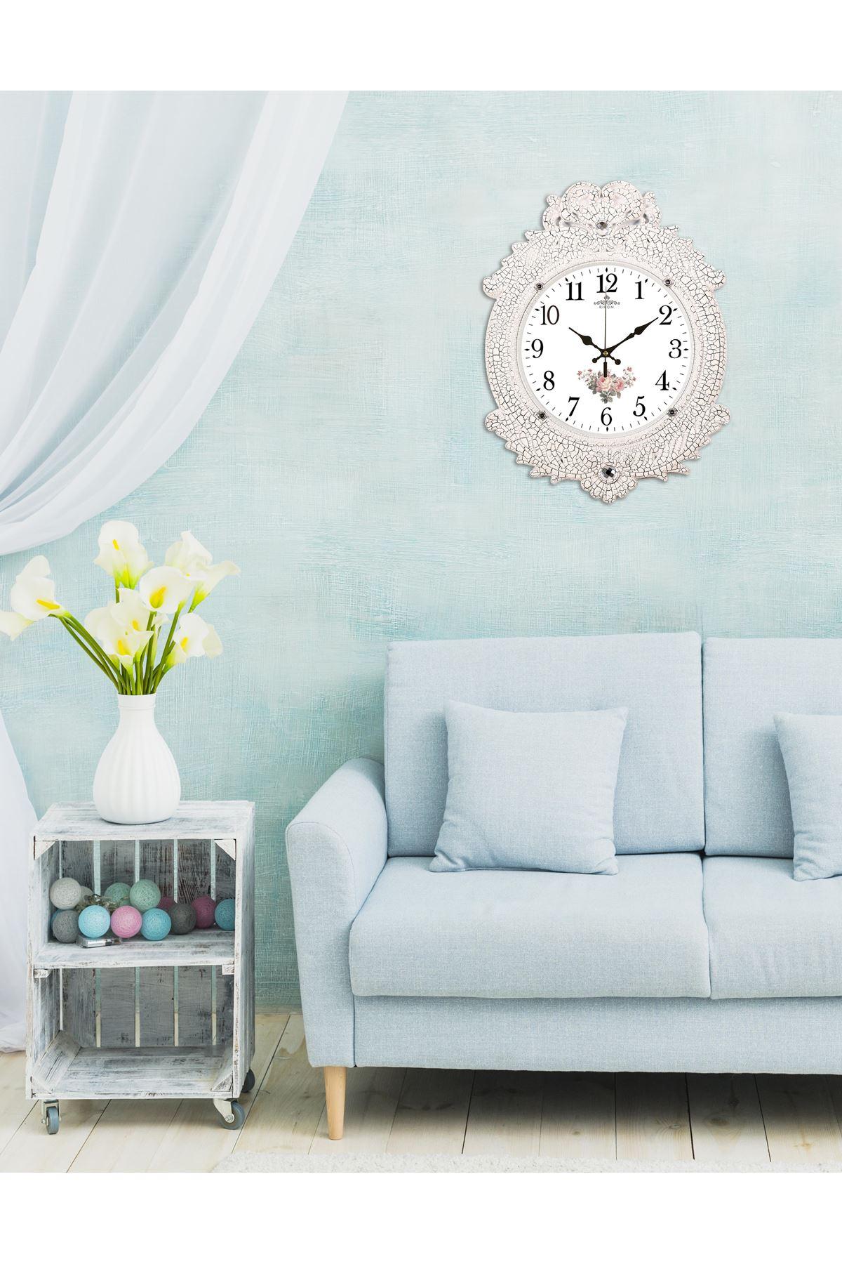 Rikon Deluxe Beyaz Çatlak Çiçekli Dekoratif Duvar Saati 48X36 Cm