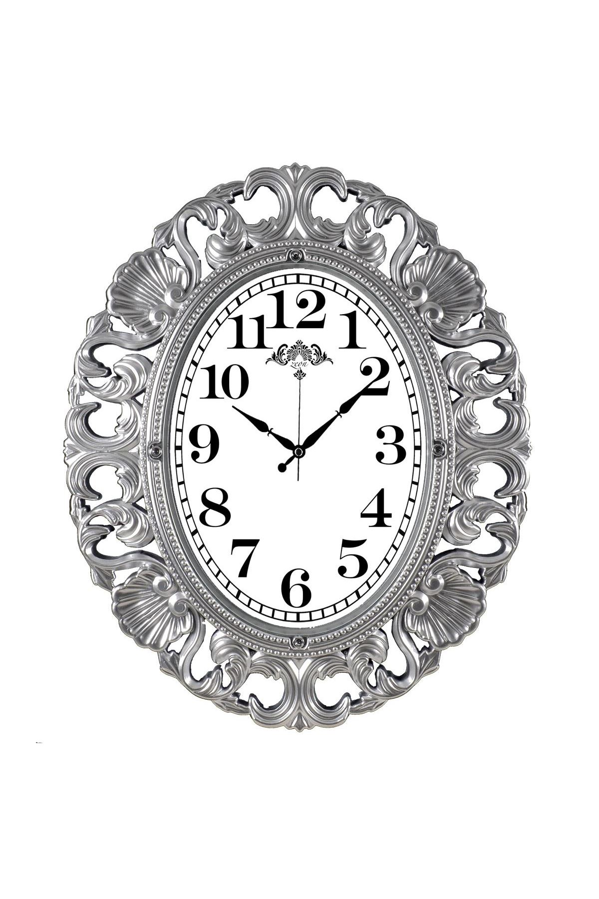 Rikon Büyük Oval Lüx Gümüş Dekoratif Duvar Saati 63X52 Cm