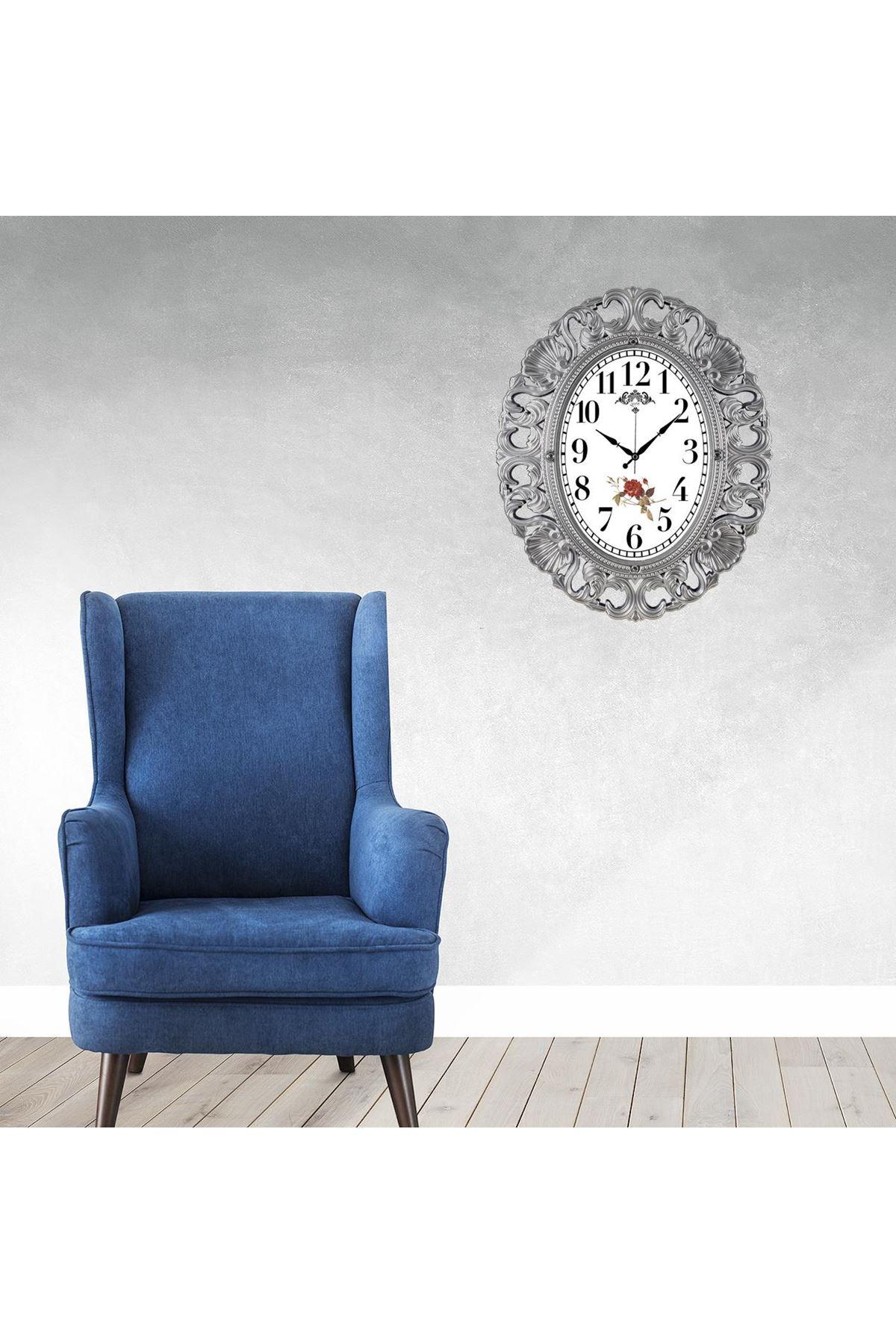 Rikon Büyük Oval Lüx Dekoratif Duvar Saati 63X52 Cm