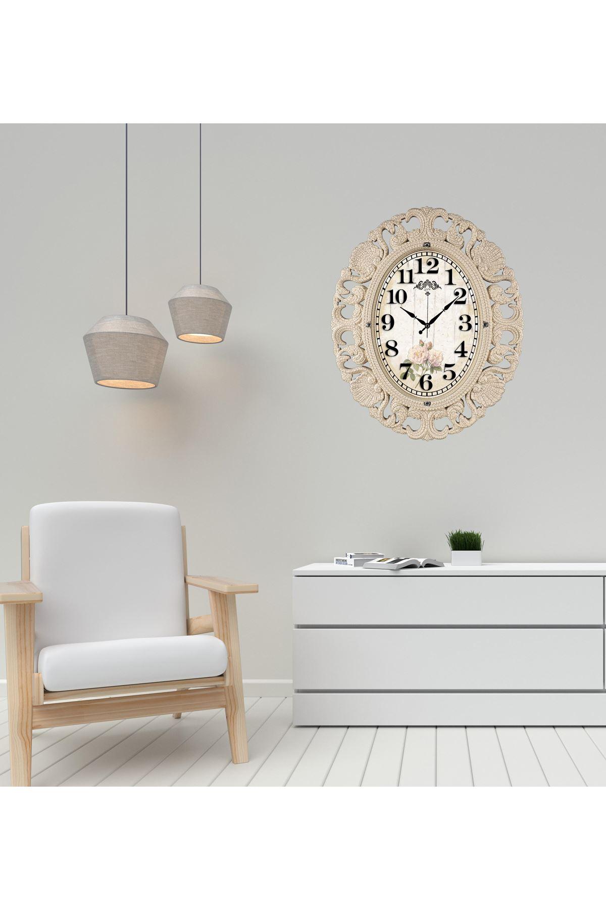 Rikon Büyük Oval Lüx Krem Çiçekli Dekoratif Duvar Saati 63X52 Cm