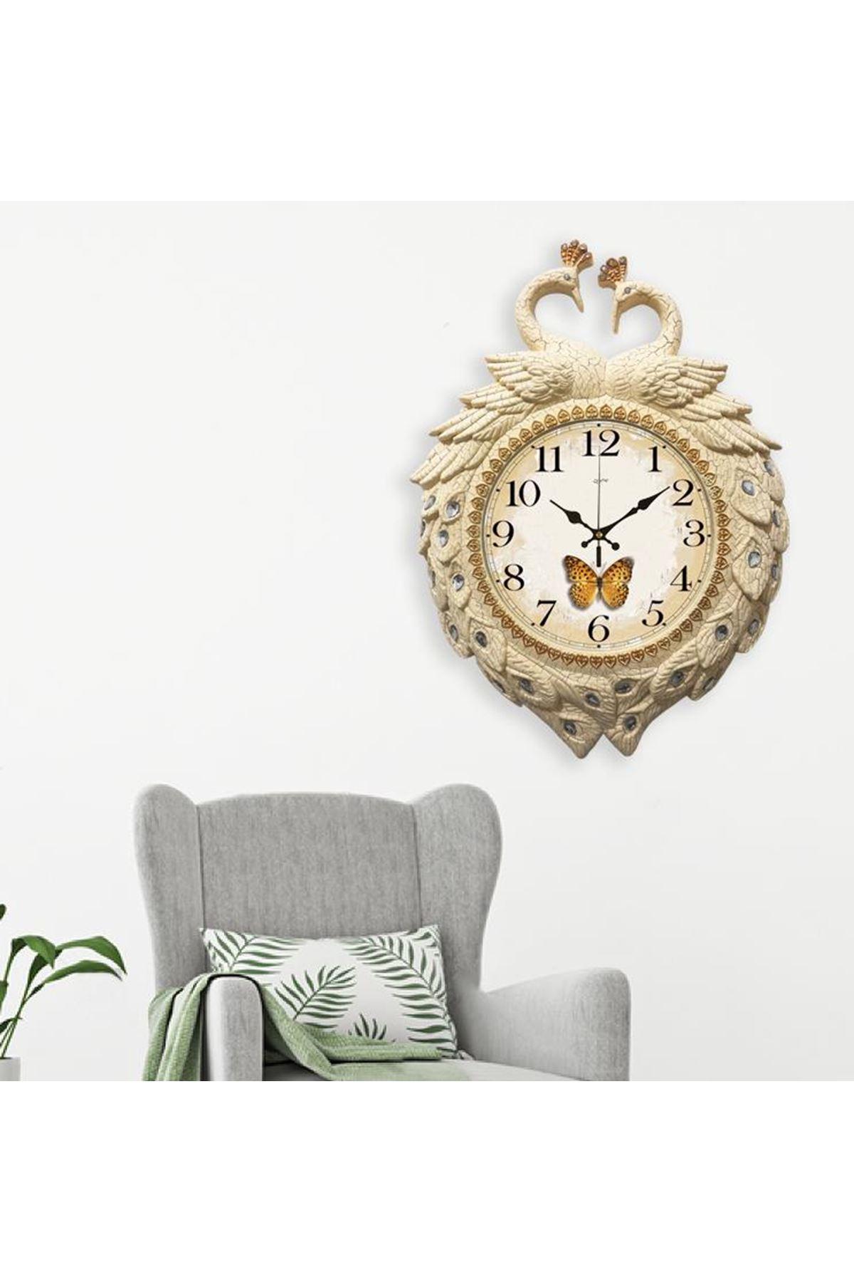 Rikon Kuğu Krem Çatlak Kelebek Dekoratif Duvar Saati 60x46 Cm