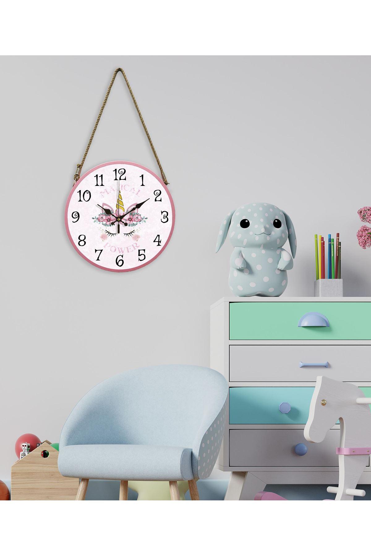 Rikon Halatlı Çocuk Odası Dekoratif Duvar Saati Macikal 60X31 Cm