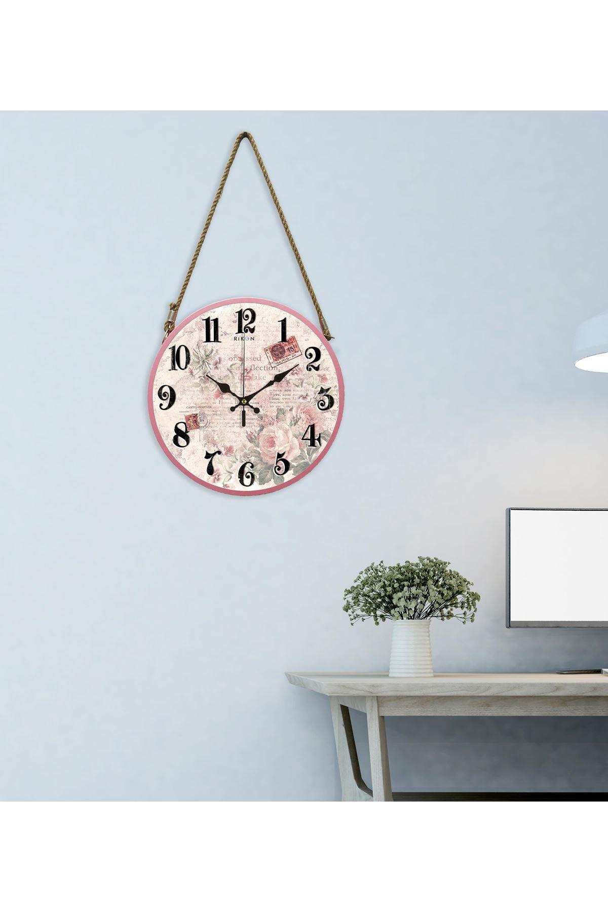 Rikon Halatlı Pembe Çiçekli Dekoratif Duvar Saati 60x30Cm