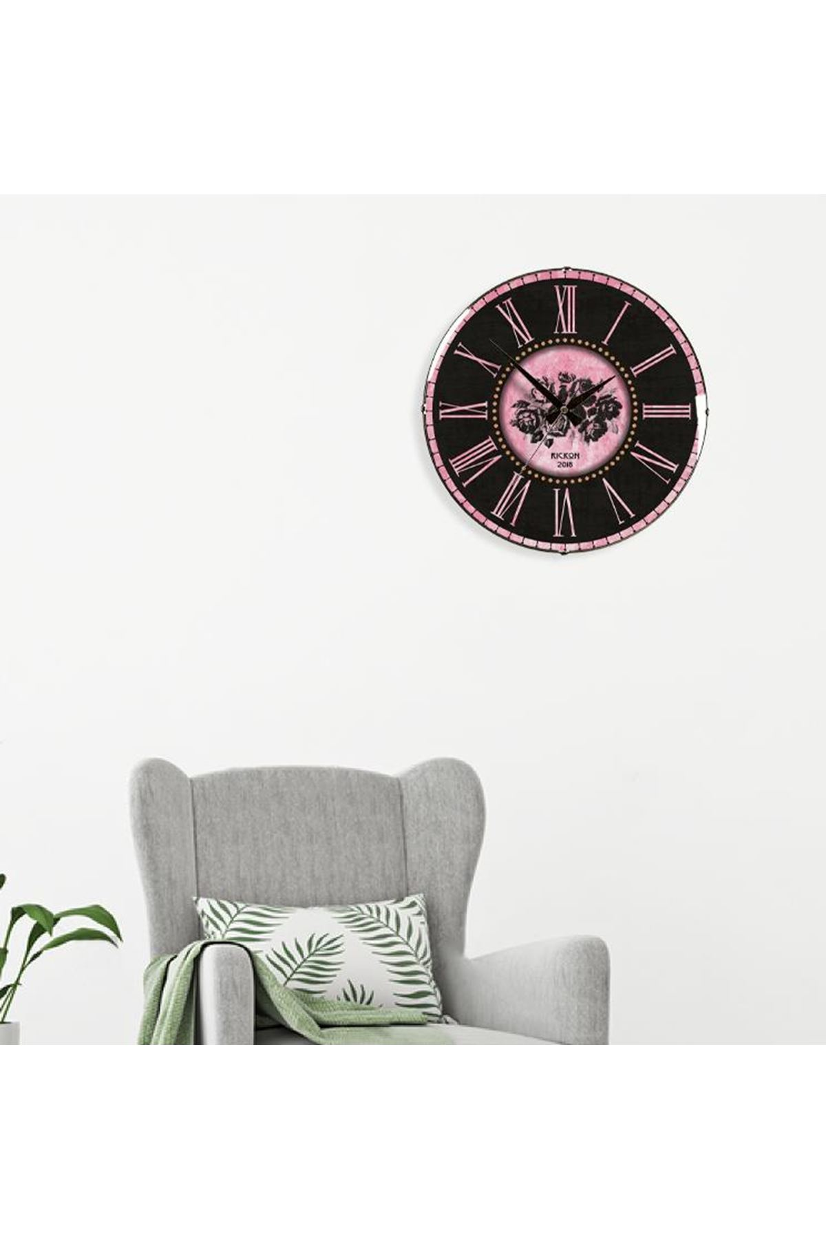 Rikon Dekoratif Bombe Camlı Duvar Saati DistressedPink 35X35 Cm