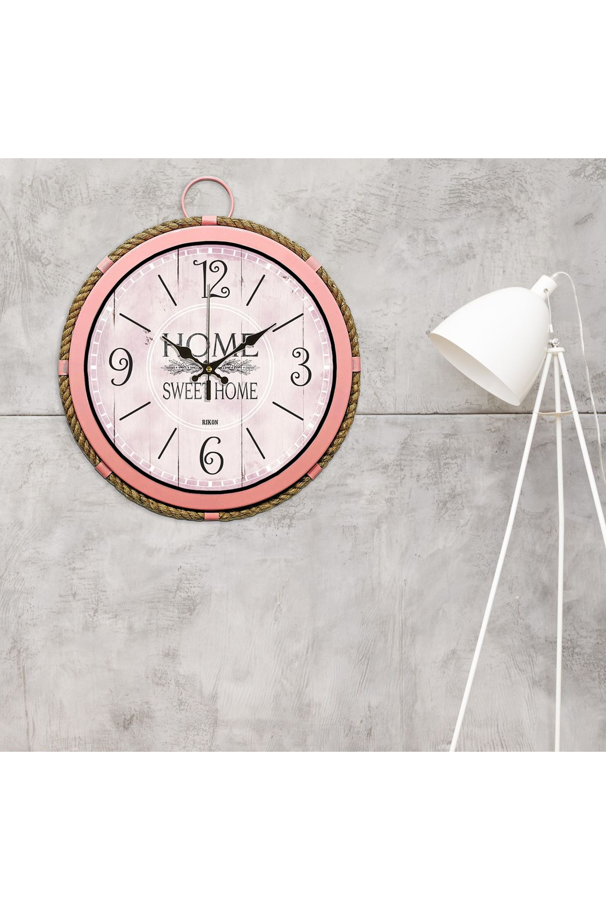 Rikon Metal Pembe Roma Rakamlı Halatlı Denizci Saati 35X35 Cm