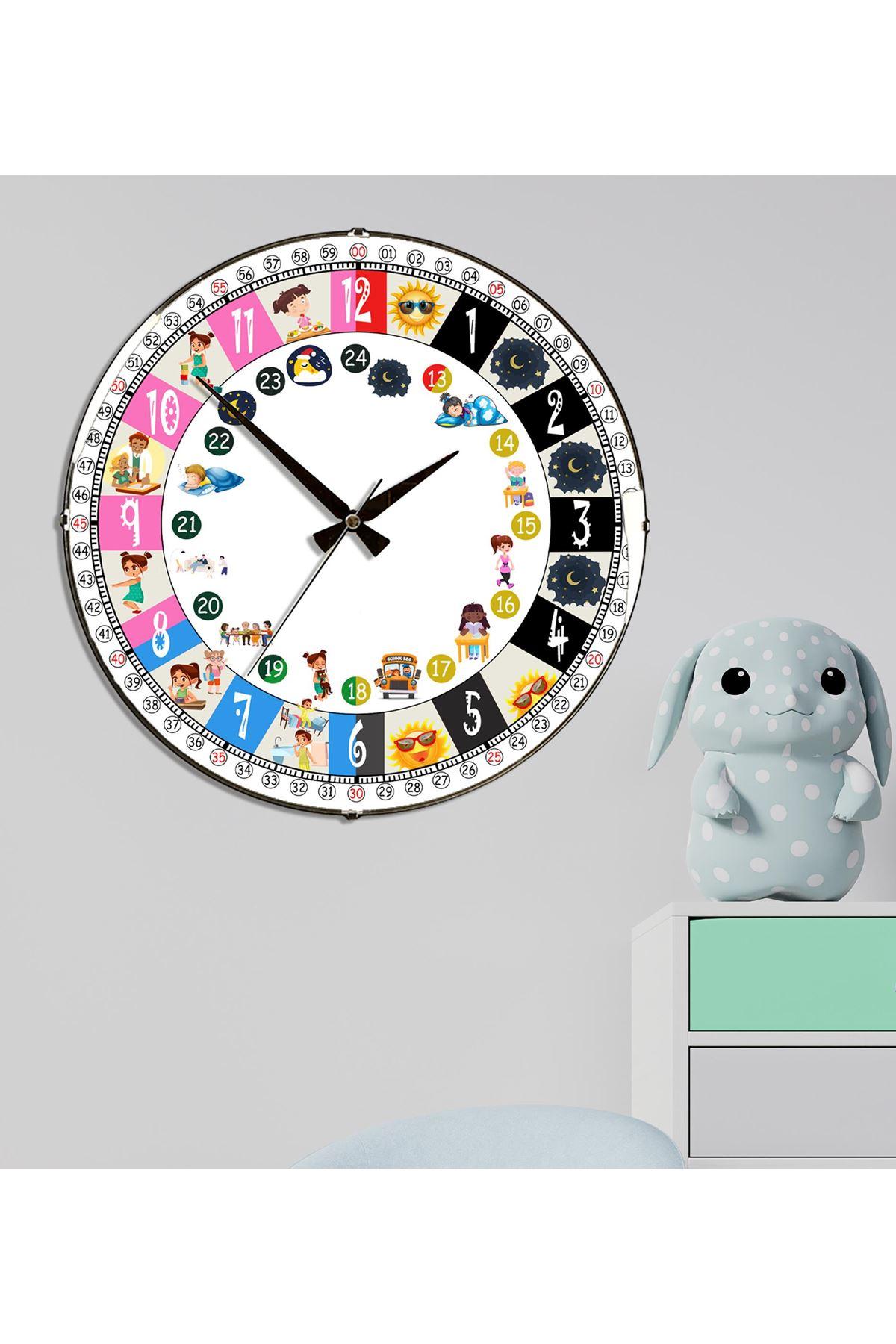 Rikon Eğitici  Çocuk Odası Dekoratif Bombe Camlı Duvar Saati 35 Cm