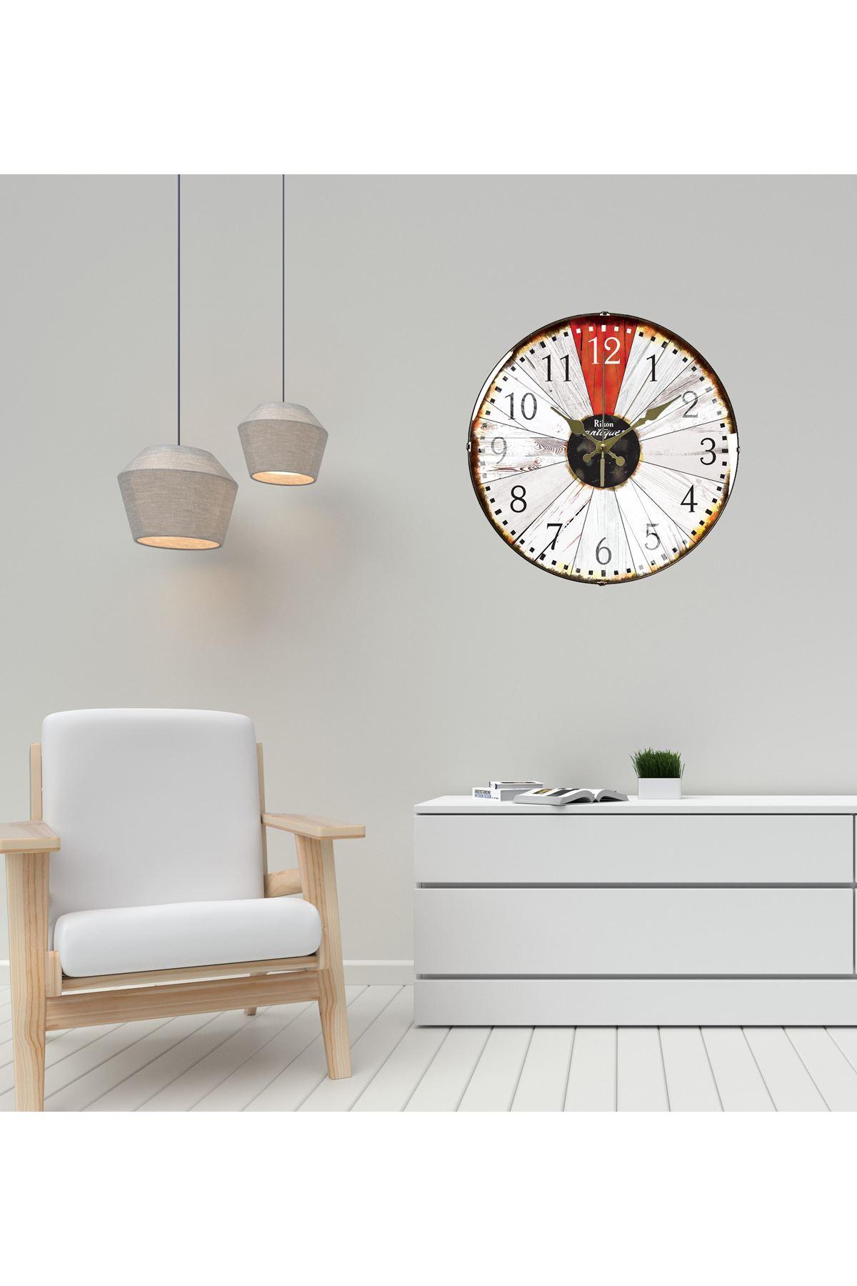Rikon Woodenred Dekoratif Bombe Camlı Çark Duvar Saati 35X35 Cm