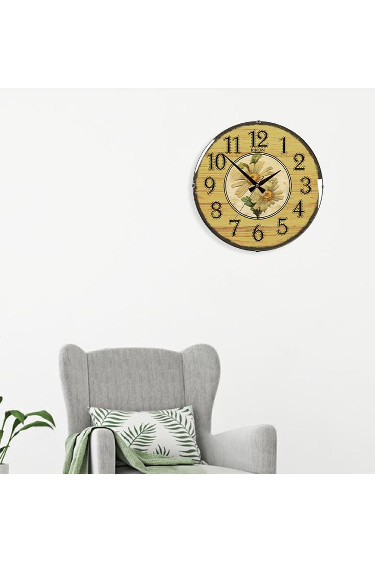 Rikon Dekoratif Bombe Camlı Duvar Saati Vintage Papatya35X35 Cm