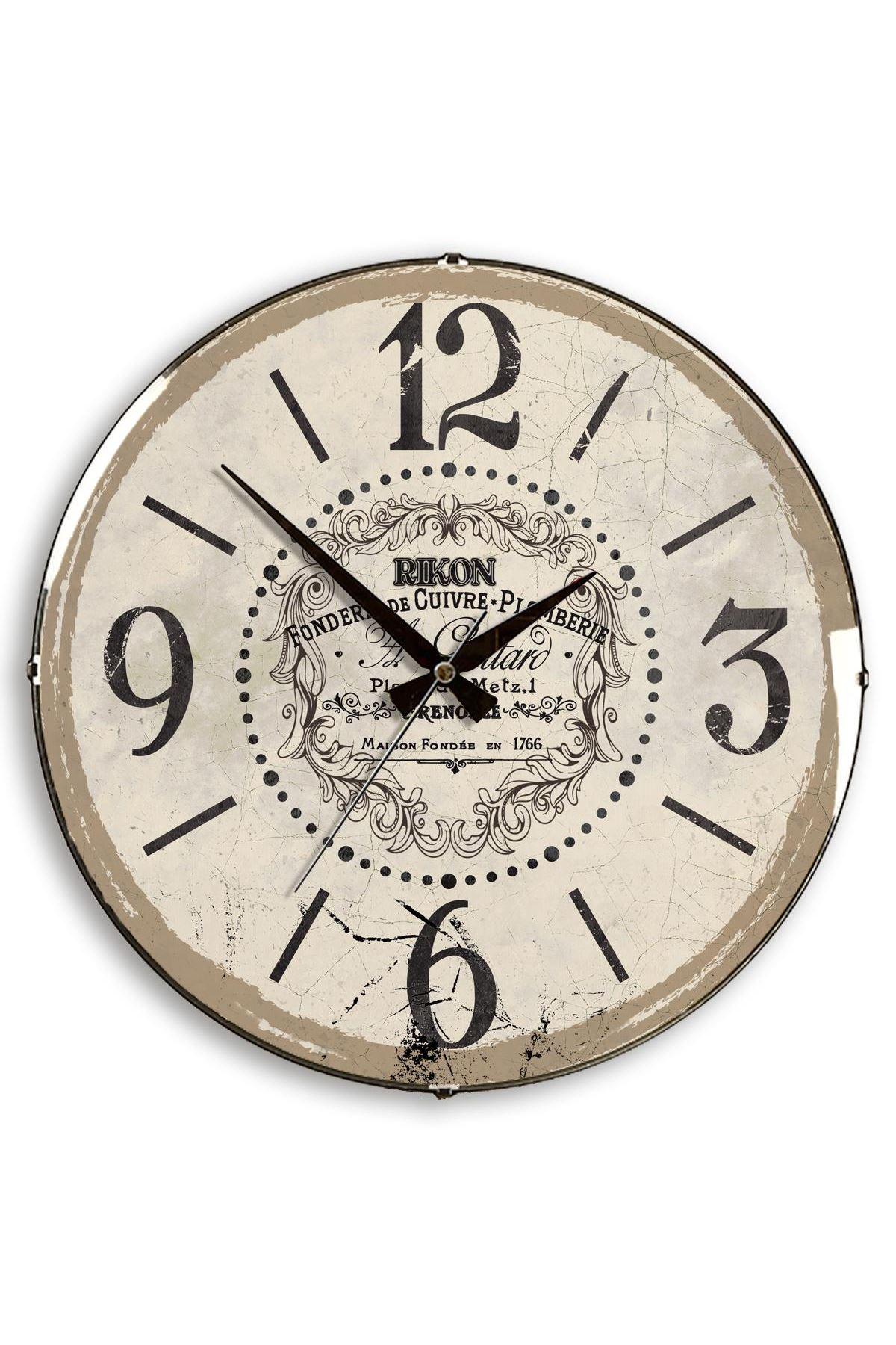 Rikon Dekoratif Bombe Camlı Duvar Saati Bej Grenobel 35X35 Cm