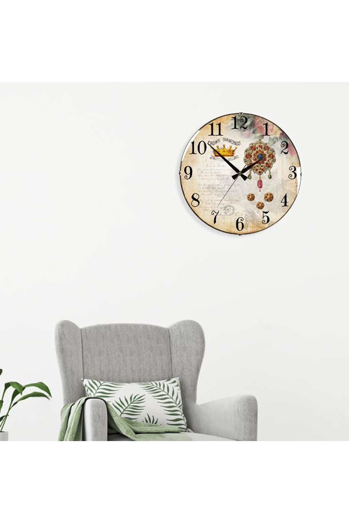 Rikon Dekoratif Bombe Camlı Duvar Saati Diamonos 35X35 Cm