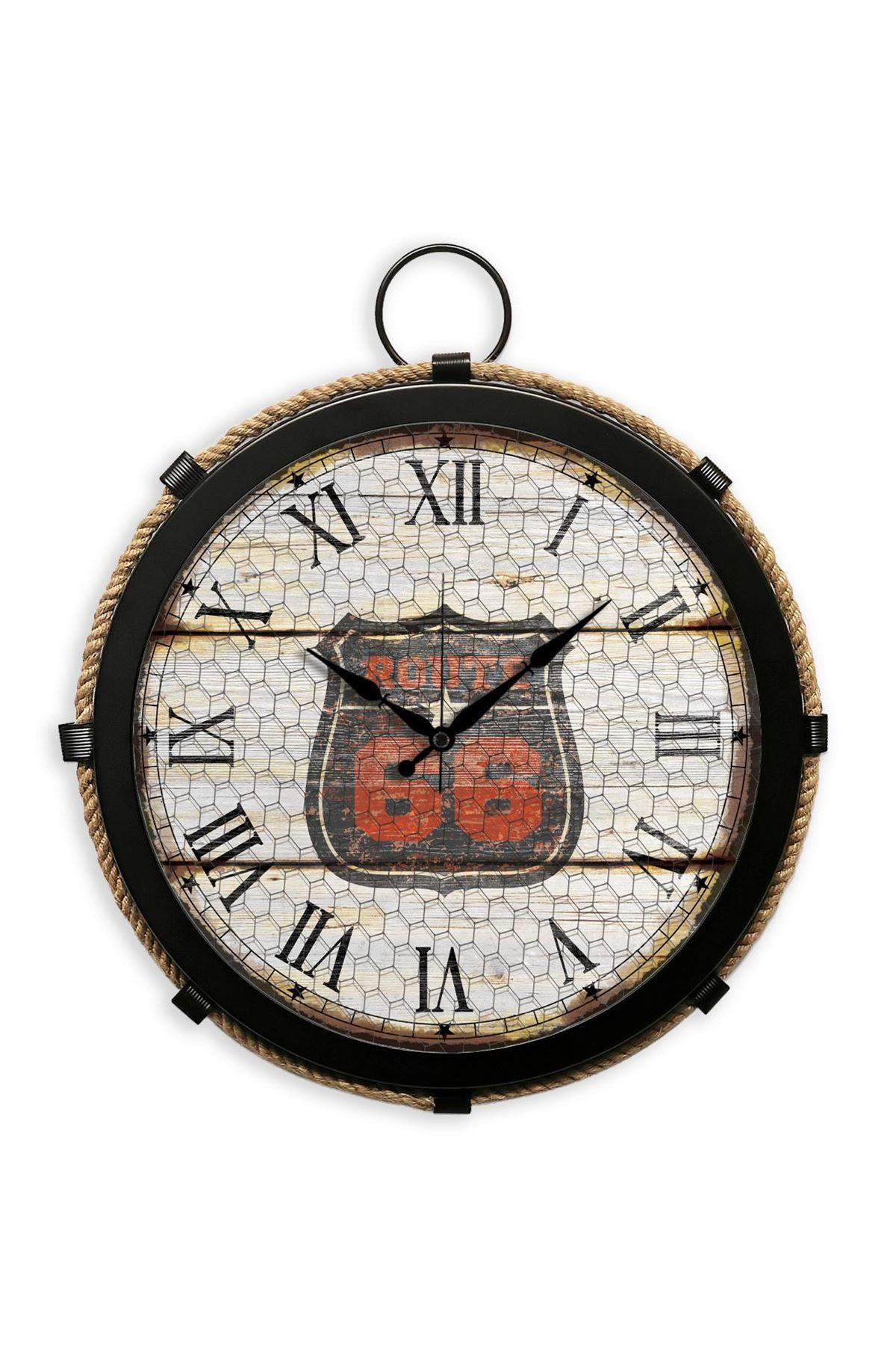 Rikon Büyük Boy Metal Siyah Halatlı Denizci Saati 35X35 Cm