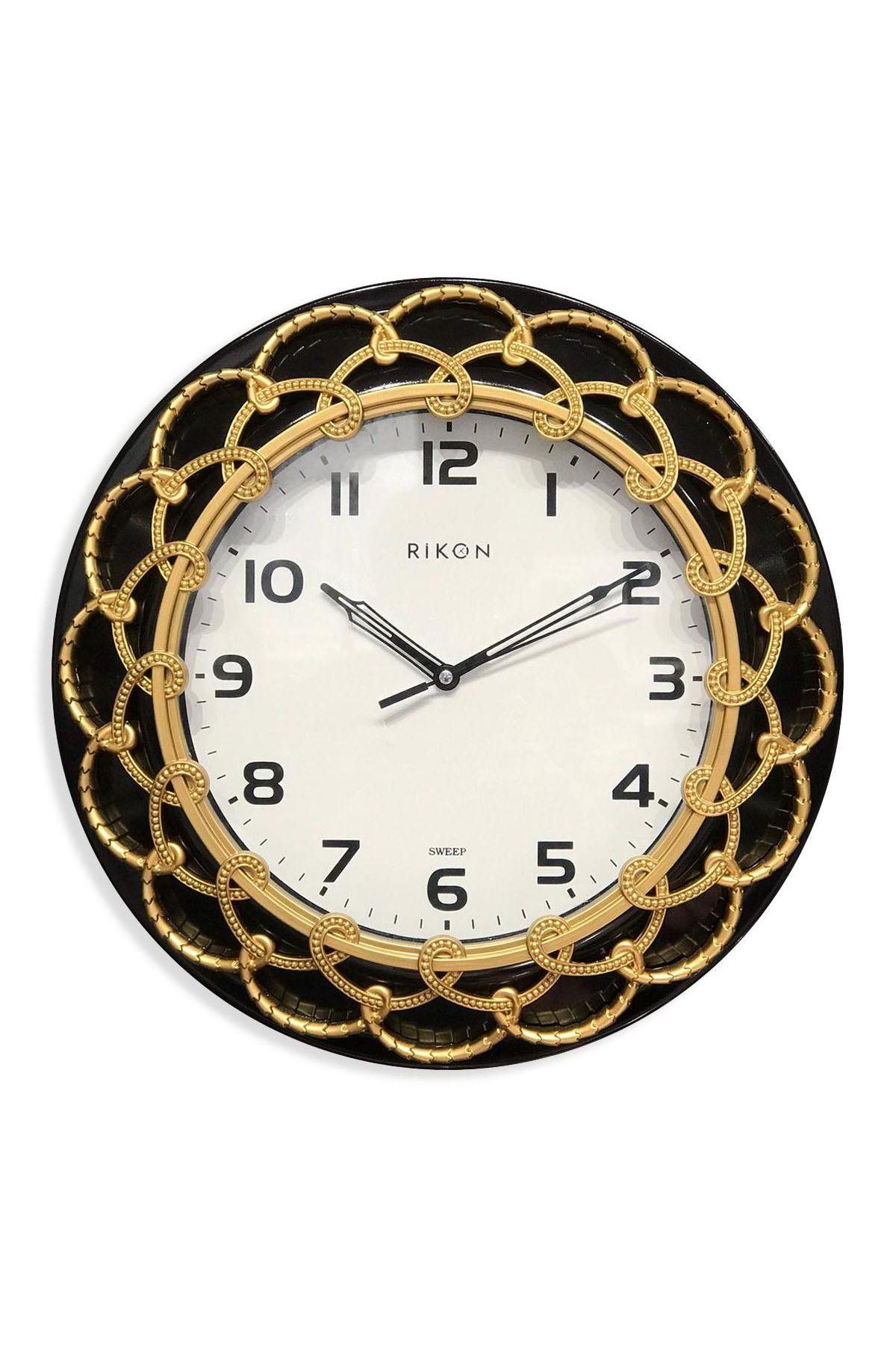 Rikon Dekoratif Desenli Duvar Saati Altın Varak 33X33 Cm