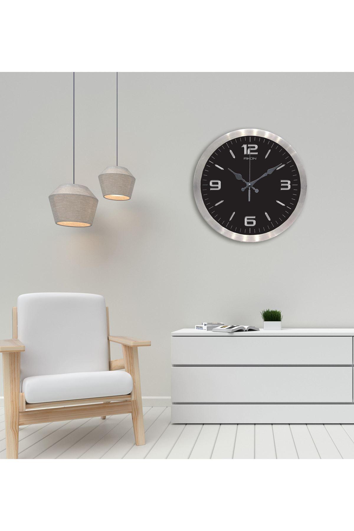 Rikon Metal Dekoratif Ofis Duvar Saati Klasik Silver Black 35X35 Cm