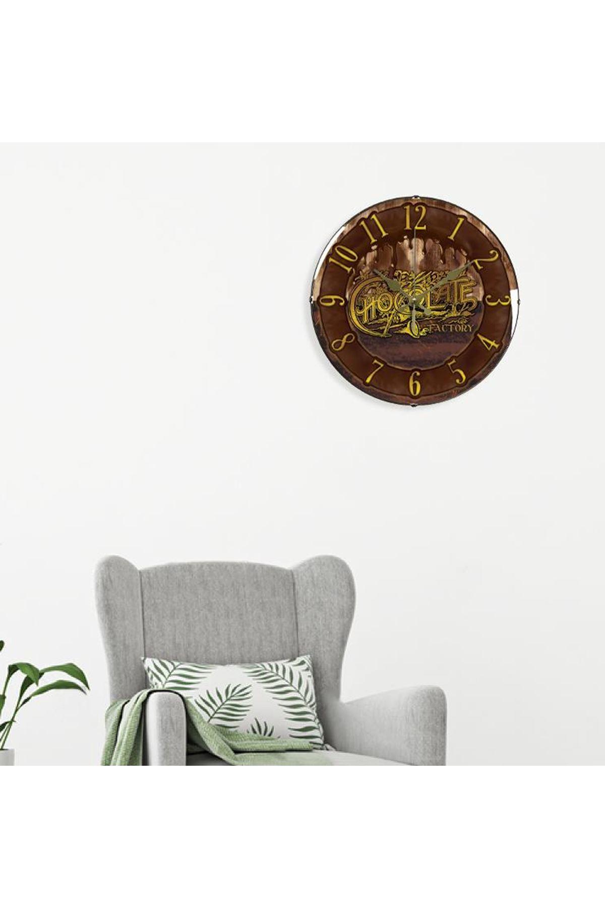 Rikon Dekoratif Bombe Camlı Duvar Saati Çikolata 35X35 Cm